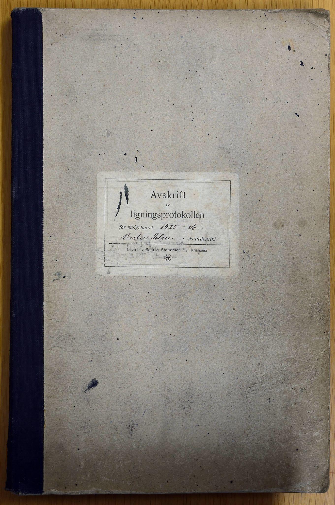 KVT, Vestre Toten kommunearkiv: Vestre Toten kommune, Avskrift av ligningsprotokollen for budsjettåret 1925-1926 i Vestre Toten skattedistrikt, 1925-1926