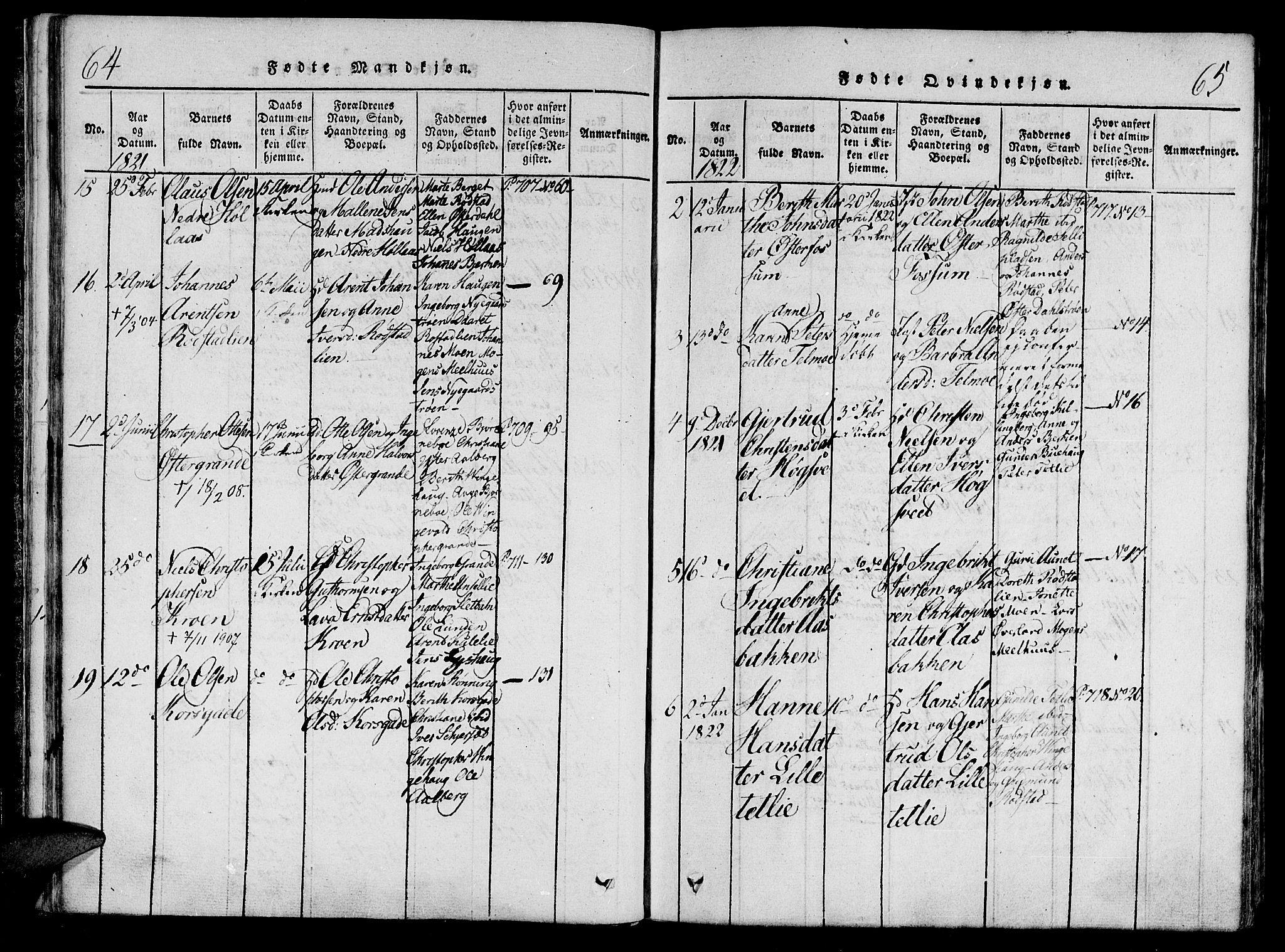 SAT, Ministerialprotokoller, klokkerbøker og fødselsregistre - Nord-Trøndelag, 701/L0005: Ministerialbok nr. 701A05 /1, 1816-1825, s. 64-65