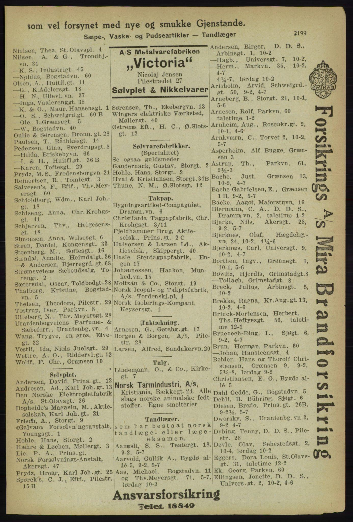 RA, Kristiania adressebok (publikasjon)*, 1918, s. 2199