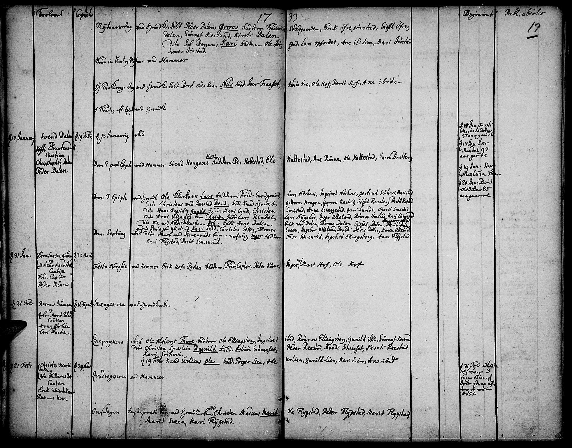 SAH, Fåberg prestekontor, Ministerialbok nr. 1, 1727-1775, s. 19