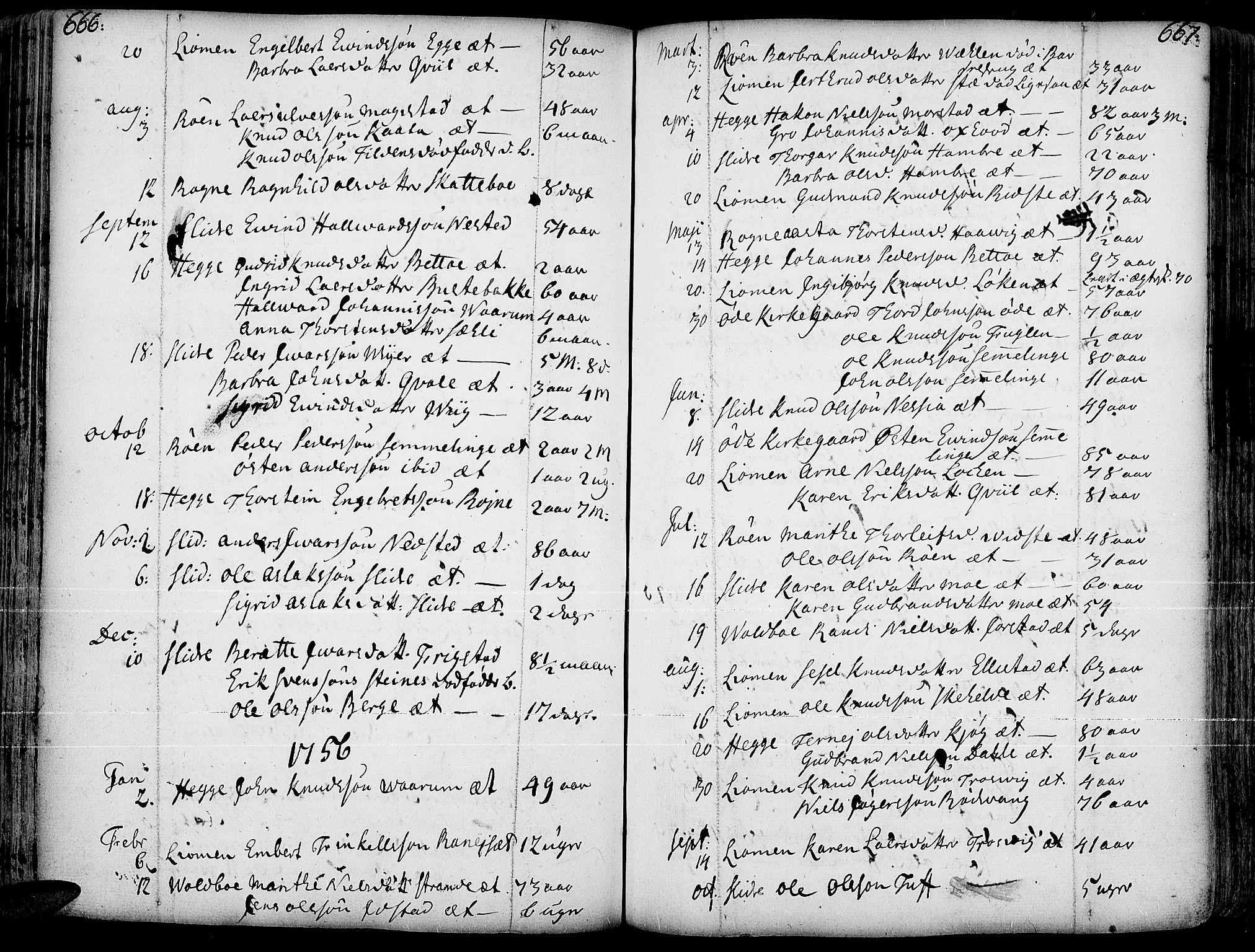 SAH, Slidre prestekontor, Ministerialbok nr. 1, 1724-1814, s. 666-667