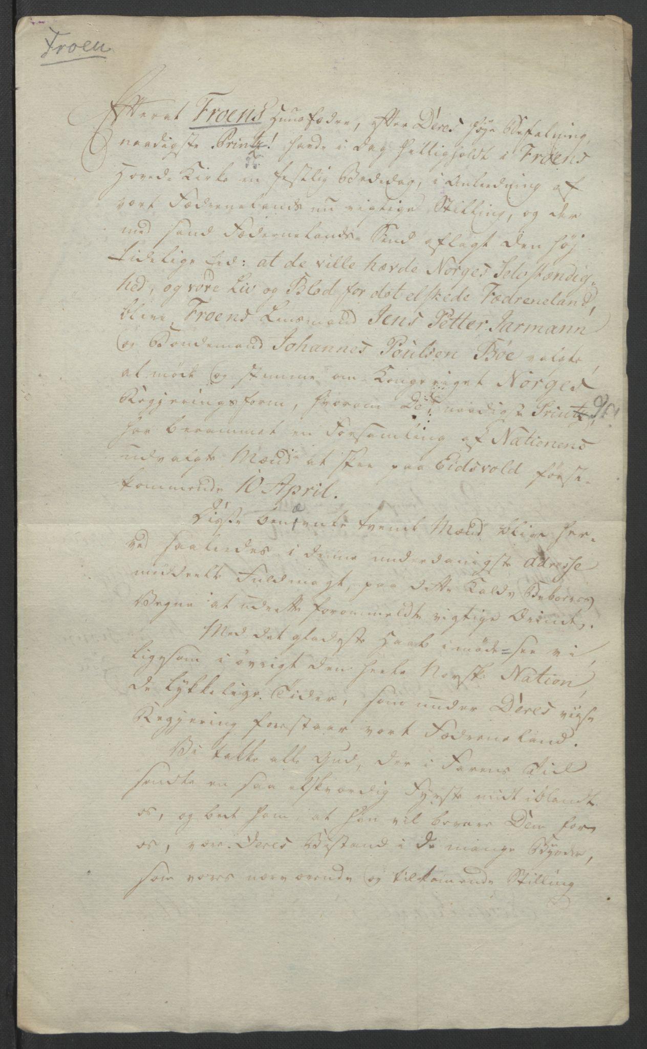 RA, Statsrådssekretariatet, D/Db/L0007: Fullmakter for Eidsvollsrepresentantene i 1814. , 1814, s. 256