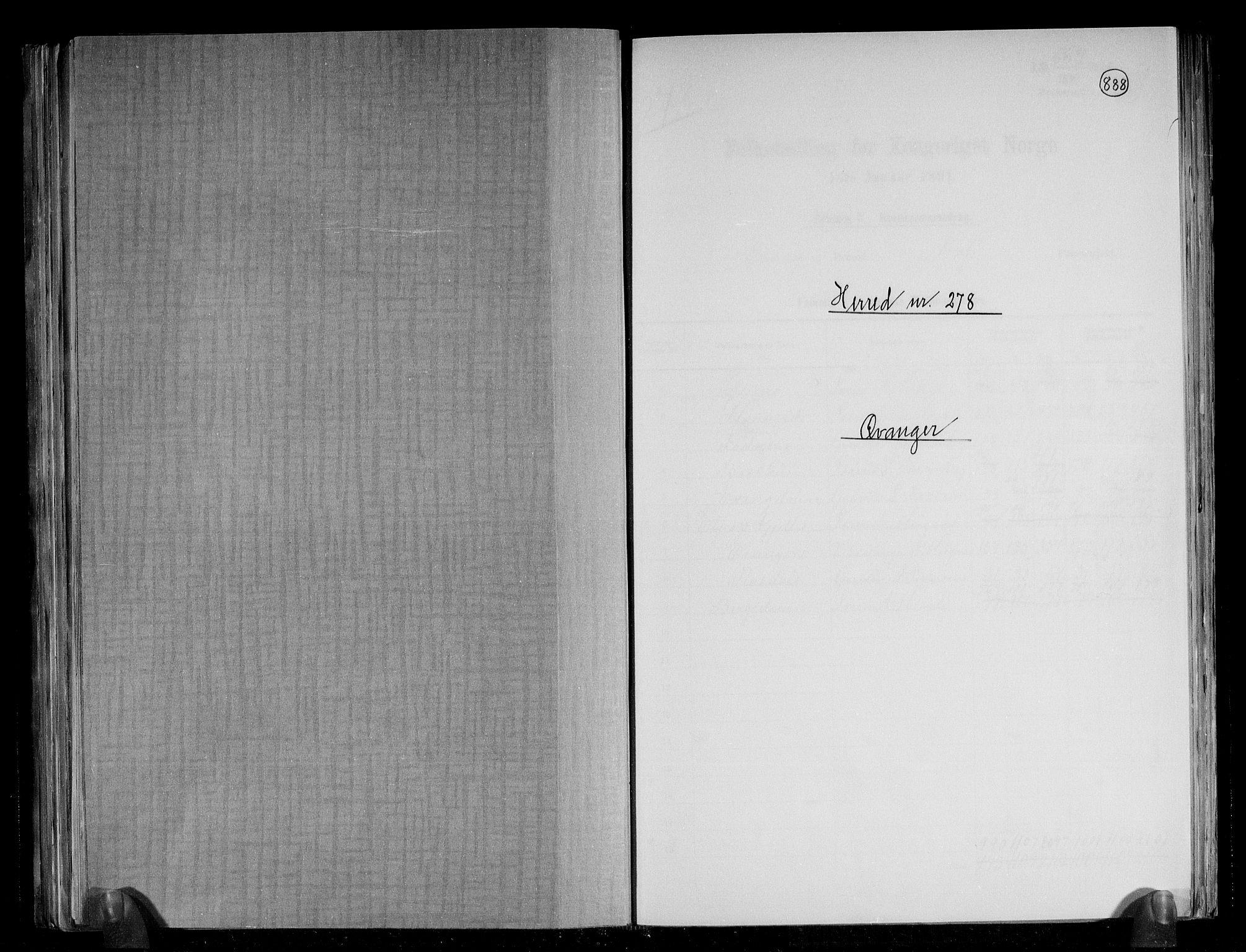 RA, Folketelling 1891 for 1237 Evanger herred, 1891, s. 1