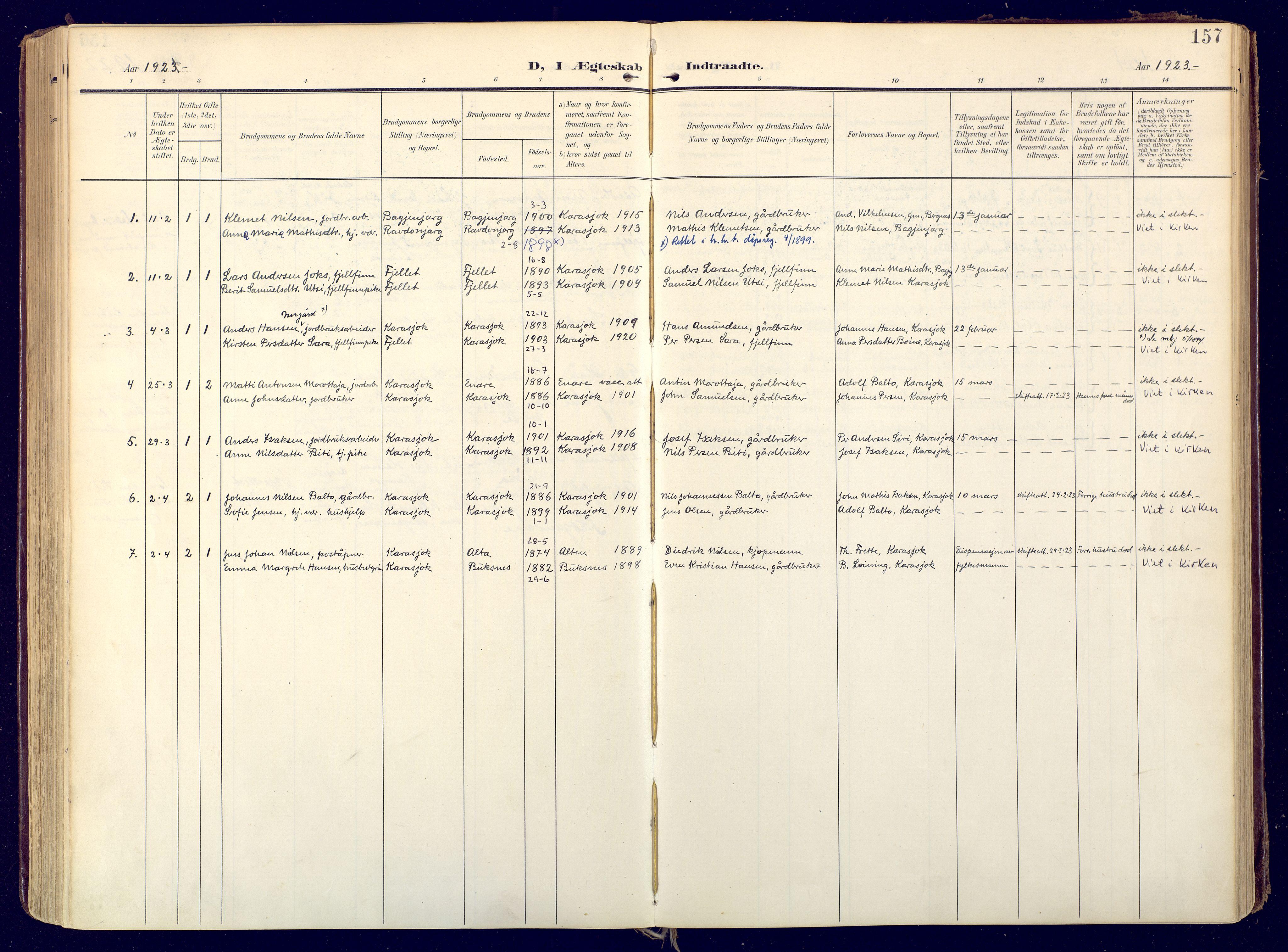SATØ, Karasjok sokneprestkontor, H/Ha: Ministerialbok nr. 3, 1907-1926, s. 157