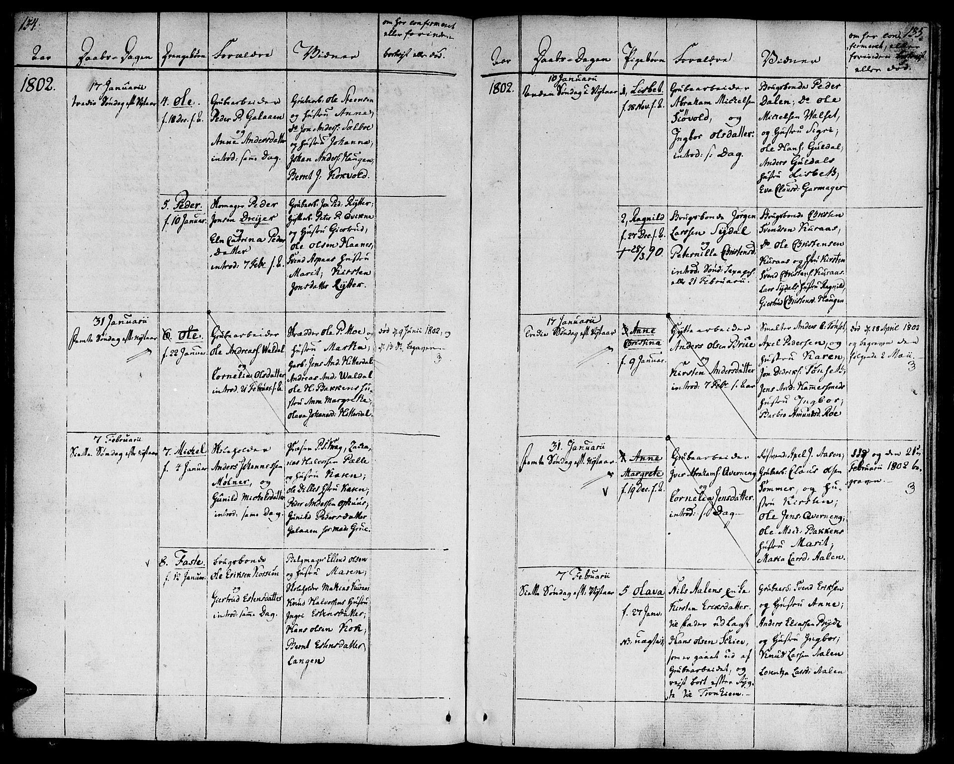 SAT, Ministerialprotokoller, klokkerbøker og fødselsregistre - Sør-Trøndelag, 681/L0927: Ministerialbok nr. 681A05, 1798-1808, s. 134-135