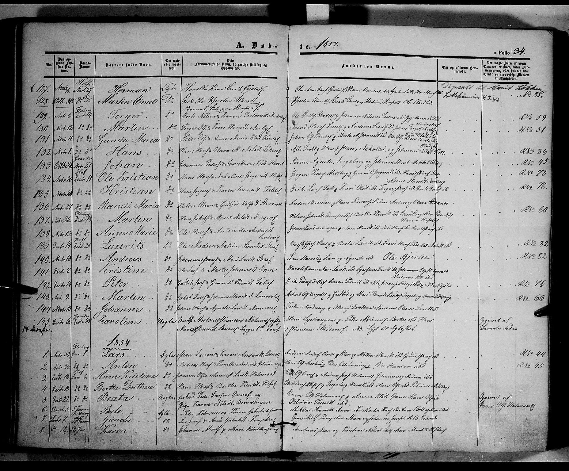 SAH, Land prestekontor, Ministerialbok nr. 9, 1847-1859, s. 34