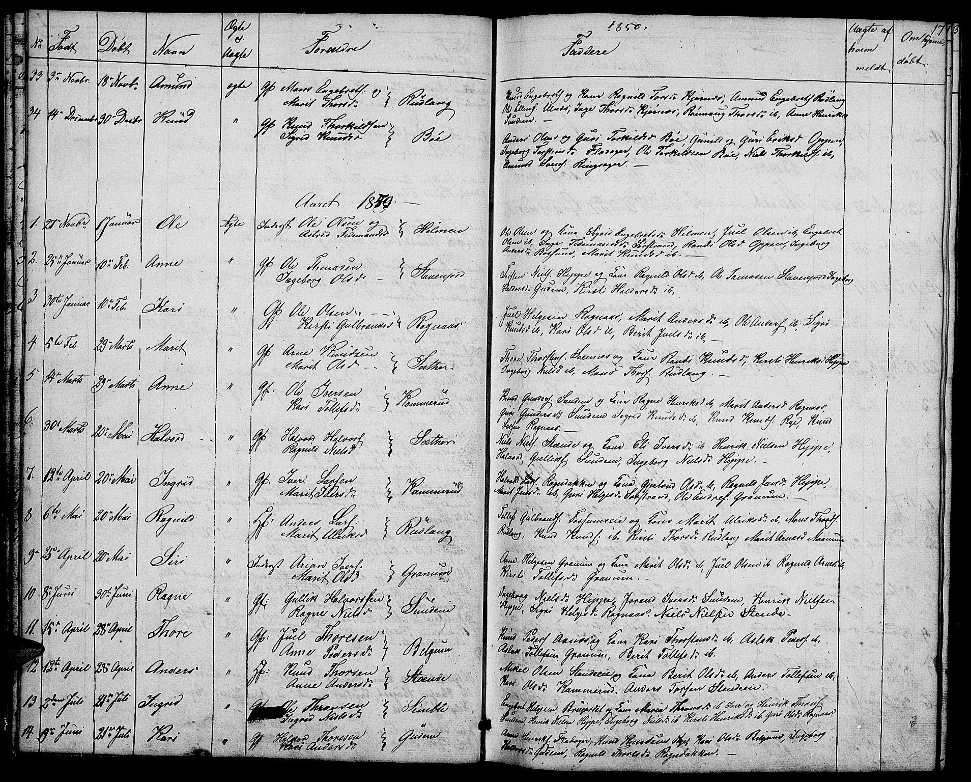 SAH, Nord-Aurdal prestekontor, Klokkerbok nr. 4, 1842-1882, s. 17