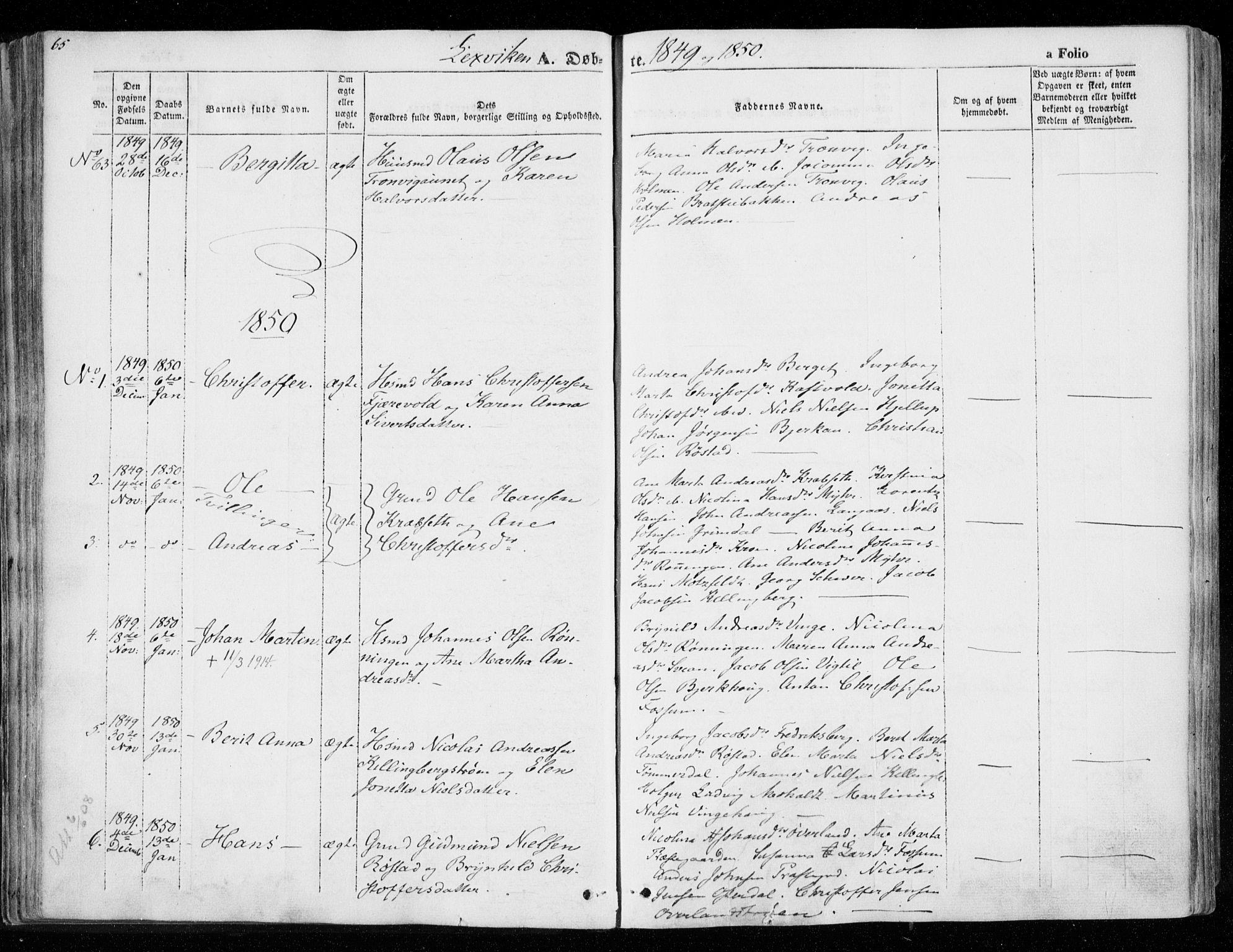 SAT, Ministerialprotokoller, klokkerbøker og fødselsregistre - Nord-Trøndelag, 701/L0007: Ministerialbok nr. 701A07 /1, 1842-1854, s. 65