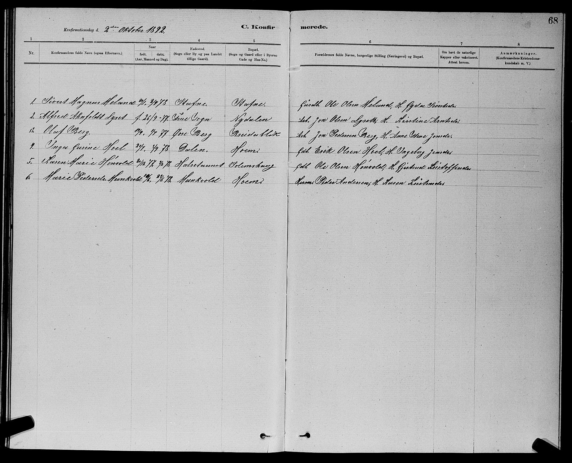 SAT, Ministerialprotokoller, klokkerbøker og fødselsregistre - Sør-Trøndelag, 611/L0354: Klokkerbok nr. 611C02, 1881-1896, s. 68
