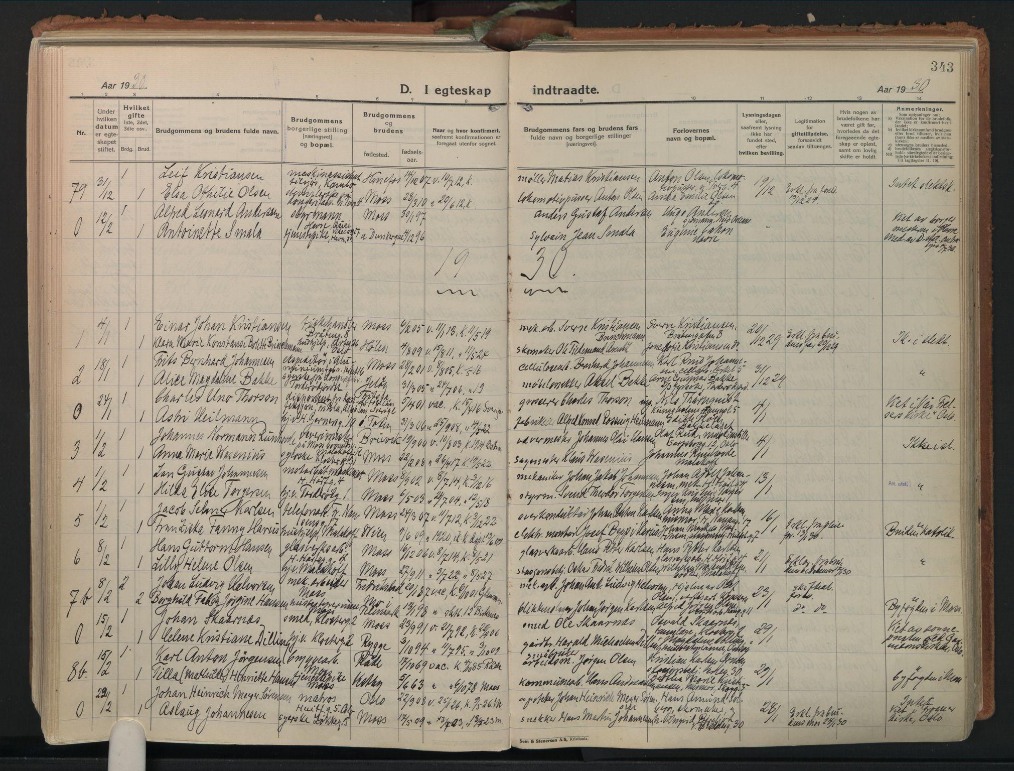 SAO, Moss prestekontor Kirkebøker, F/Fb/Fab/L0006: Ministerialbok nr. II 6, 1924-1932, s. 343
