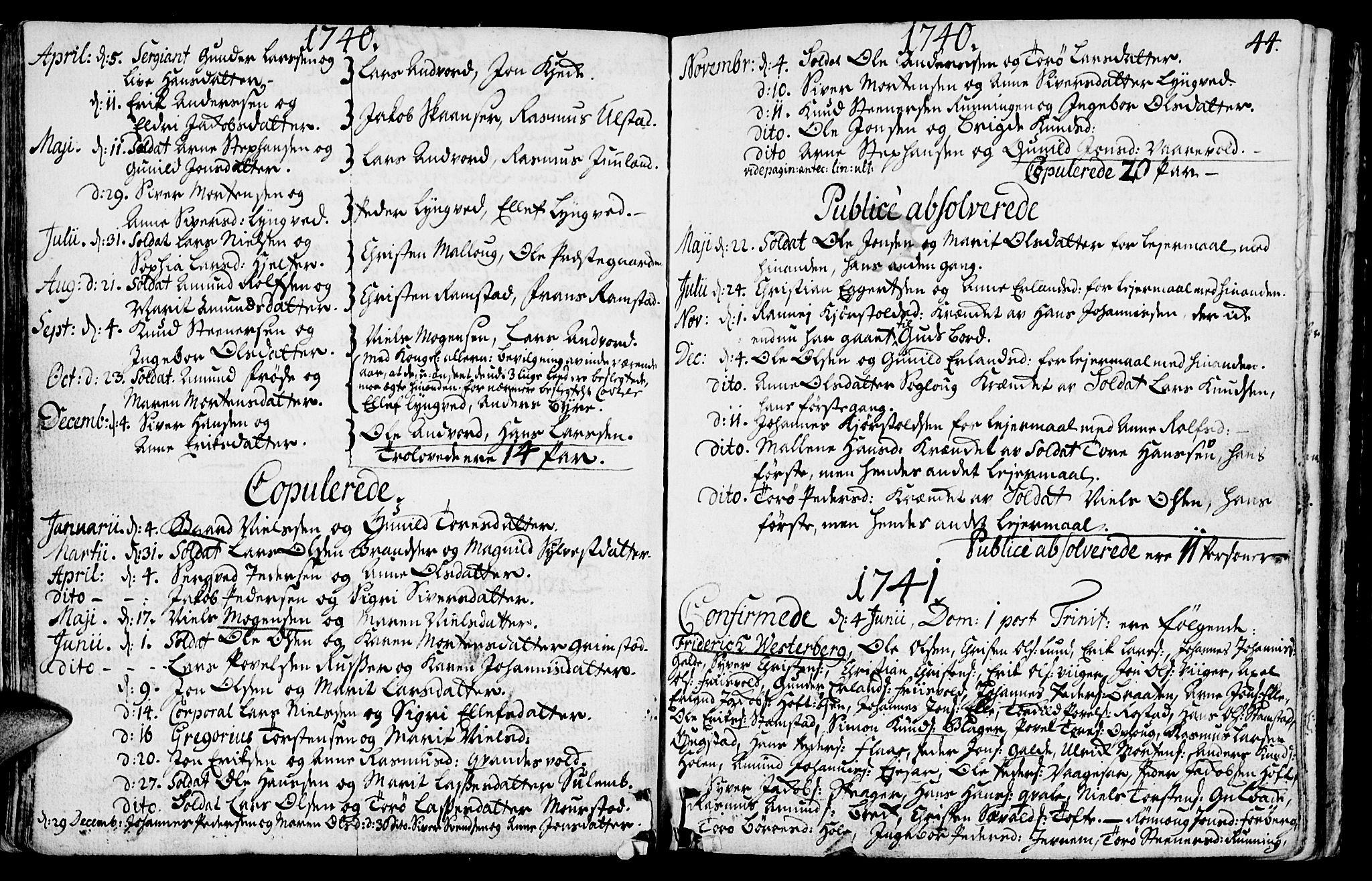SAH, Lom prestekontor, K/L0001: Ministerialbok nr. 1, 1733-1748, s. 44