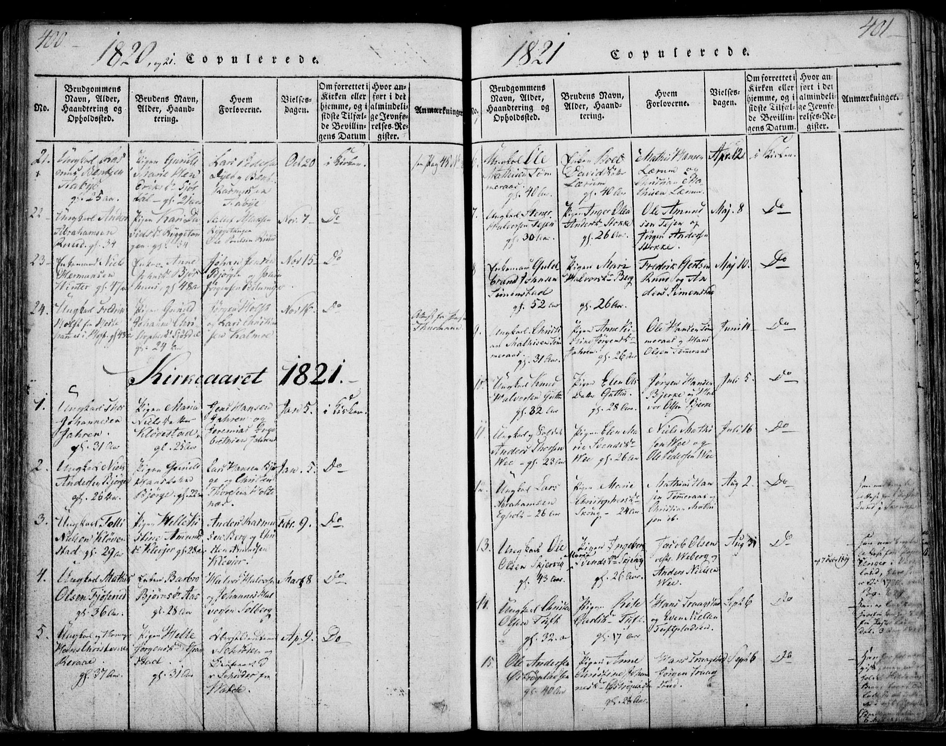 SAKO, Sande Kirkebøker, F/Fa/L0003: Ministerialbok nr. 3, 1814-1847, s. 400-401