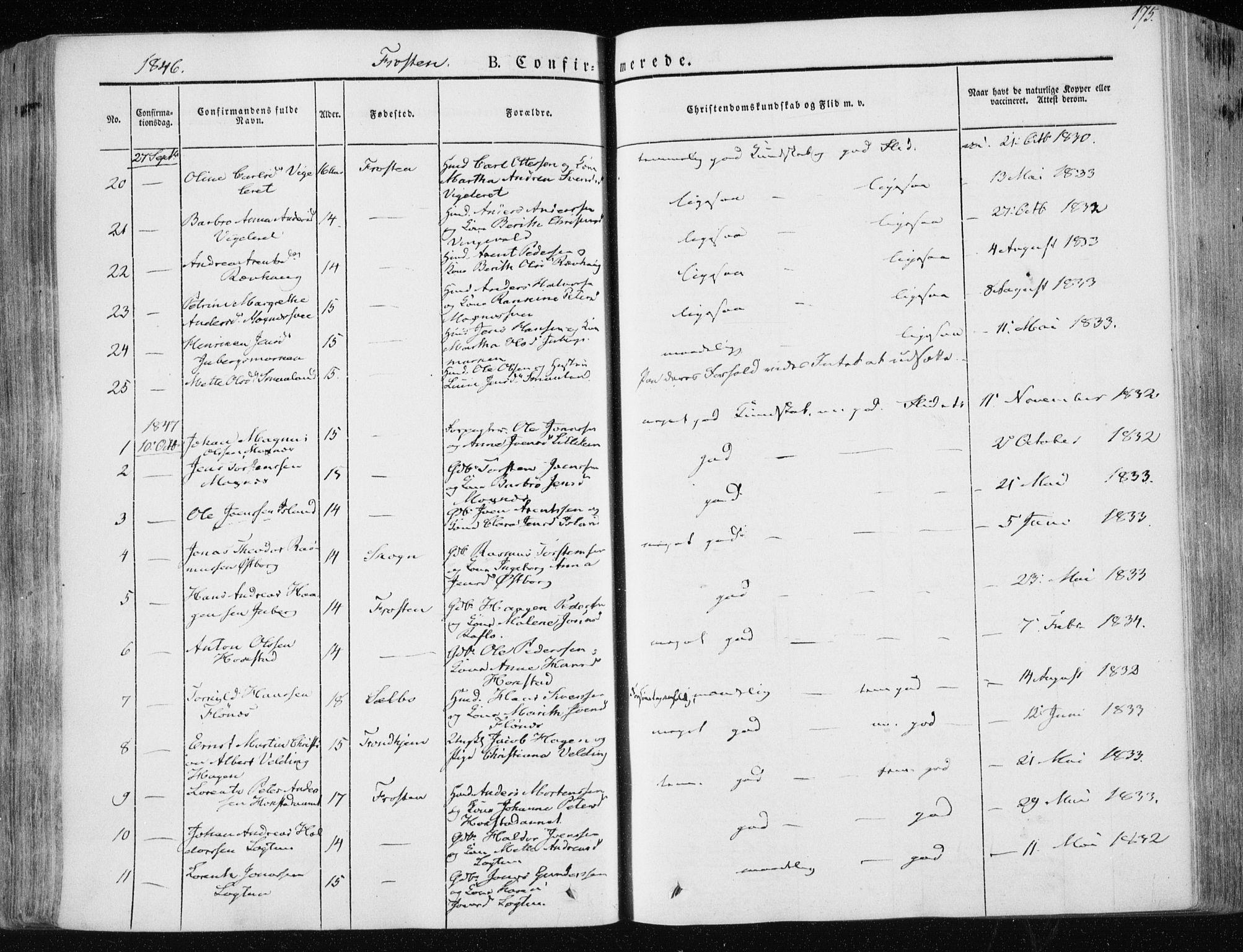 SAT, Ministerialprotokoller, klokkerbøker og fødselsregistre - Nord-Trøndelag, 713/L0115: Ministerialbok nr. 713A06, 1838-1851, s. 175