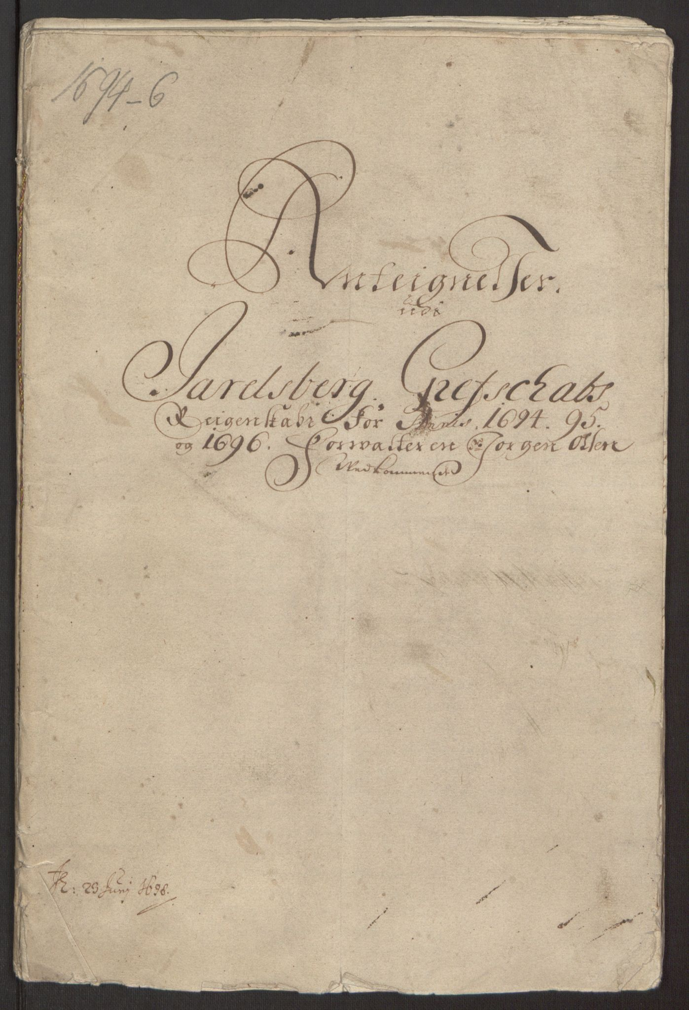 RA, Rentekammeret inntil 1814, Reviderte regnskaper, Fogderegnskap, R32/L1867: Fogderegnskap Jarlsberg grevskap, 1694-1696, s. 389