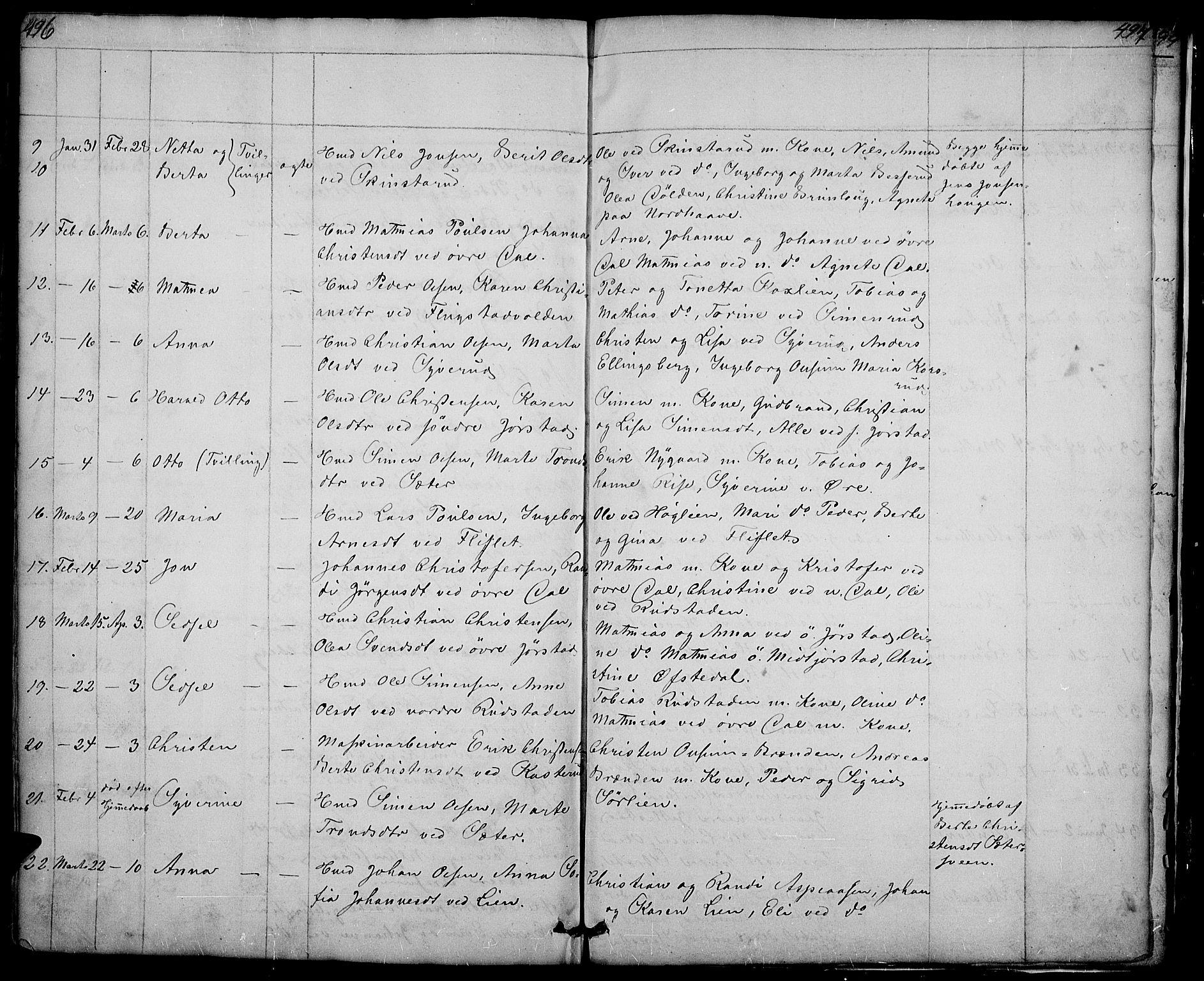 SAH, Fåberg prestekontor, H/Ha/Hab/L0005: Klokkerbok nr. 5, 1837-1864, s. 496-497