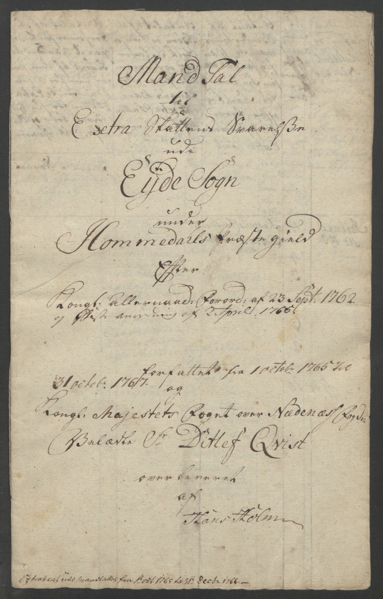 RA, Rentekammeret inntil 1814, Reviderte regnskaper, Fogderegnskap, R39/L2424: Ekstraskatten Nedenes, 1762-1767, s. 162