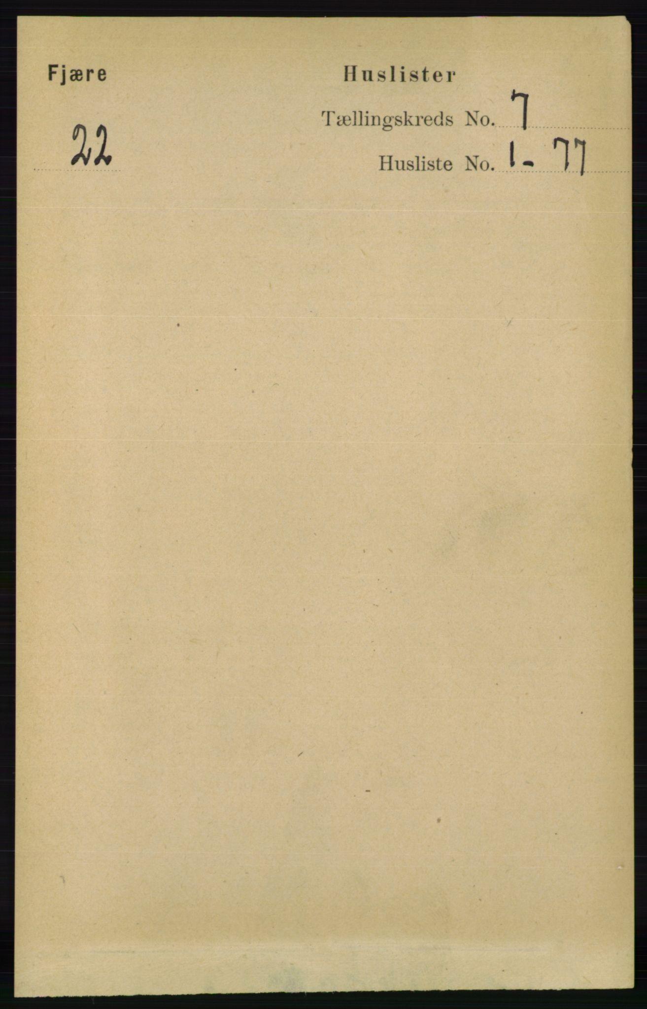RA, Folketelling 1891 for 0923 Fjære herred, 1891, s. 3123