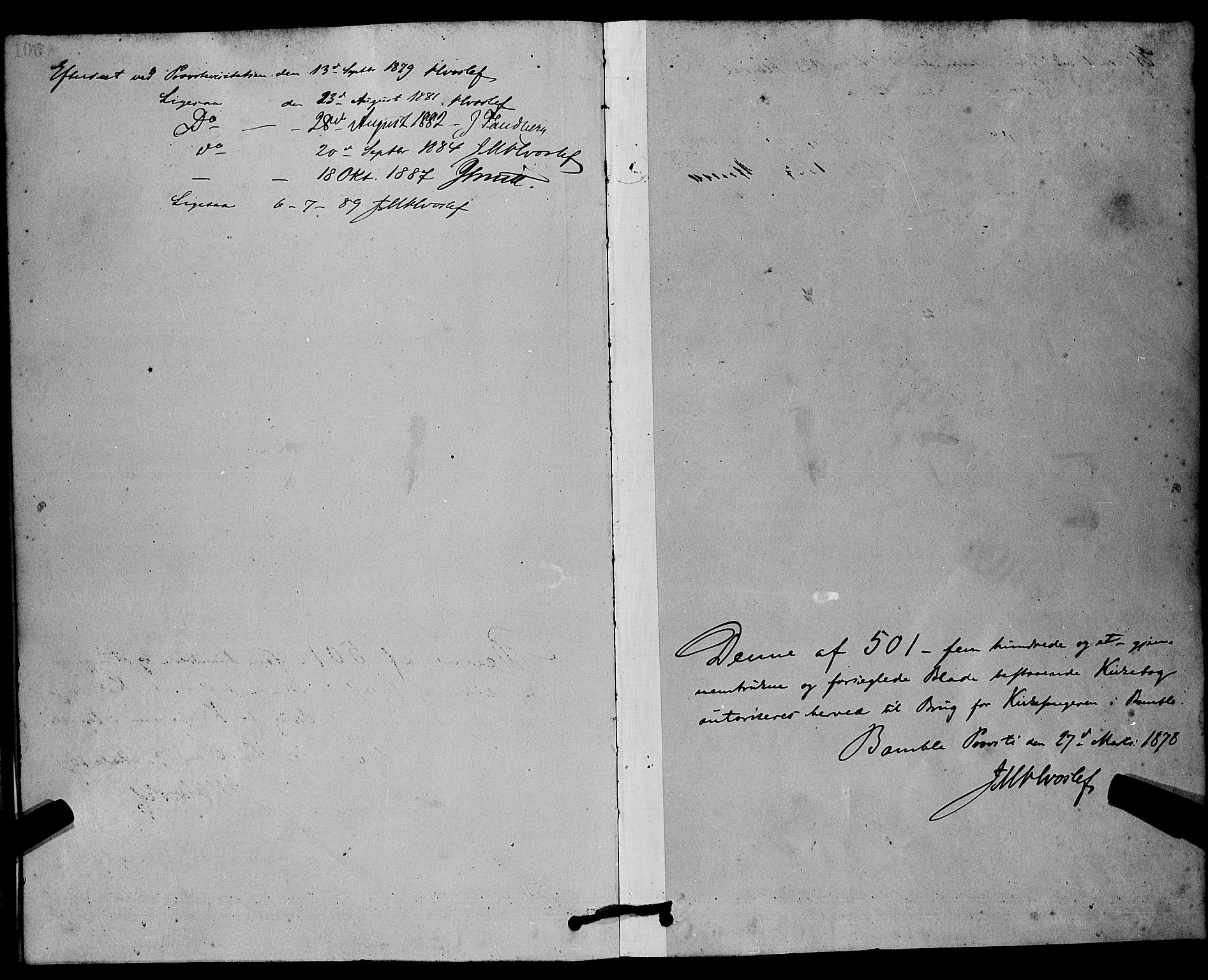 SAKO, Bamble kirkebøker, G/Ga/L0008: Klokkerbok nr. I 8, 1878-1888