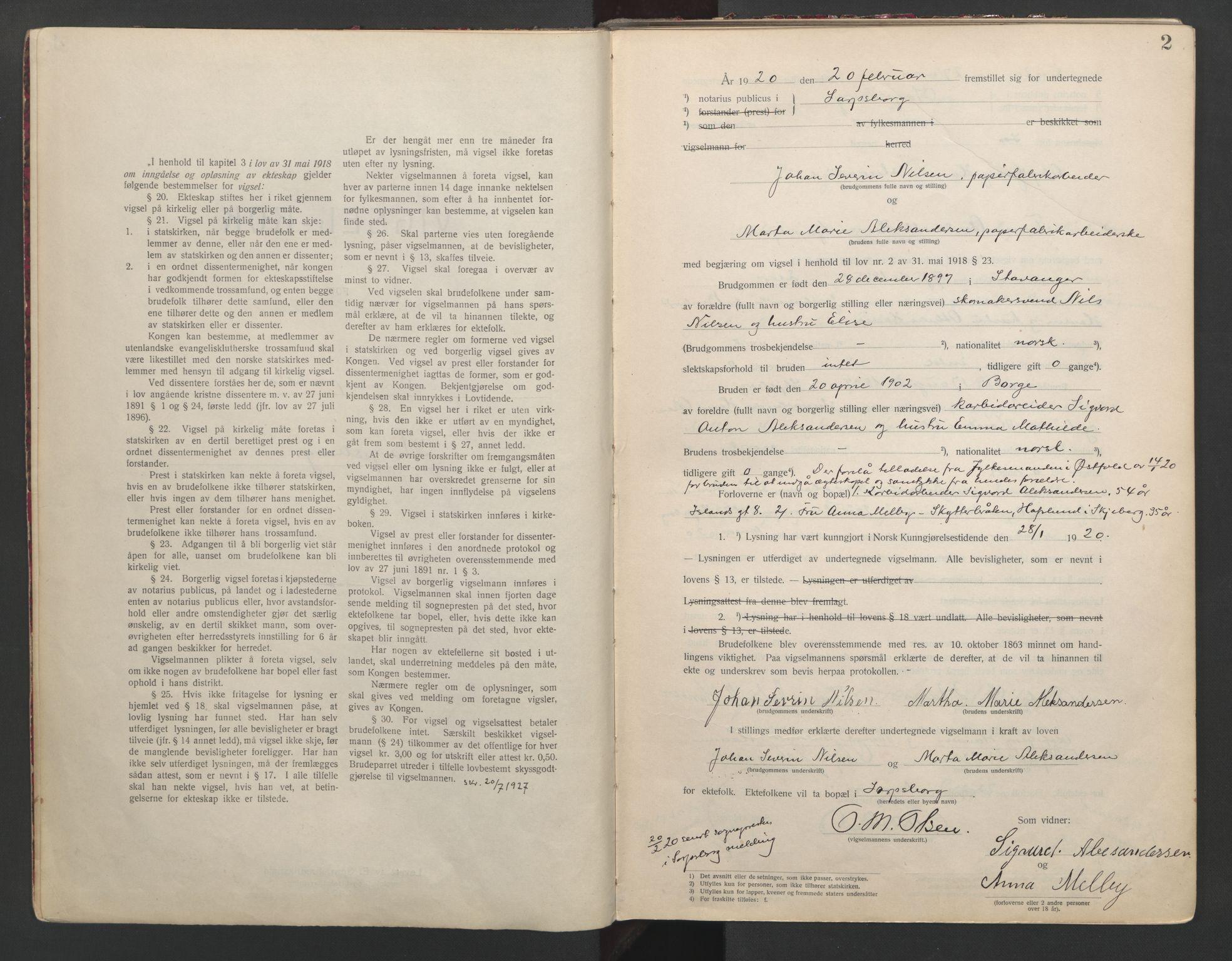 SAO, Sarpsborg byfogd, L/Lb/Lba/L0001: Vigselbok, 1920-1941, s. 2