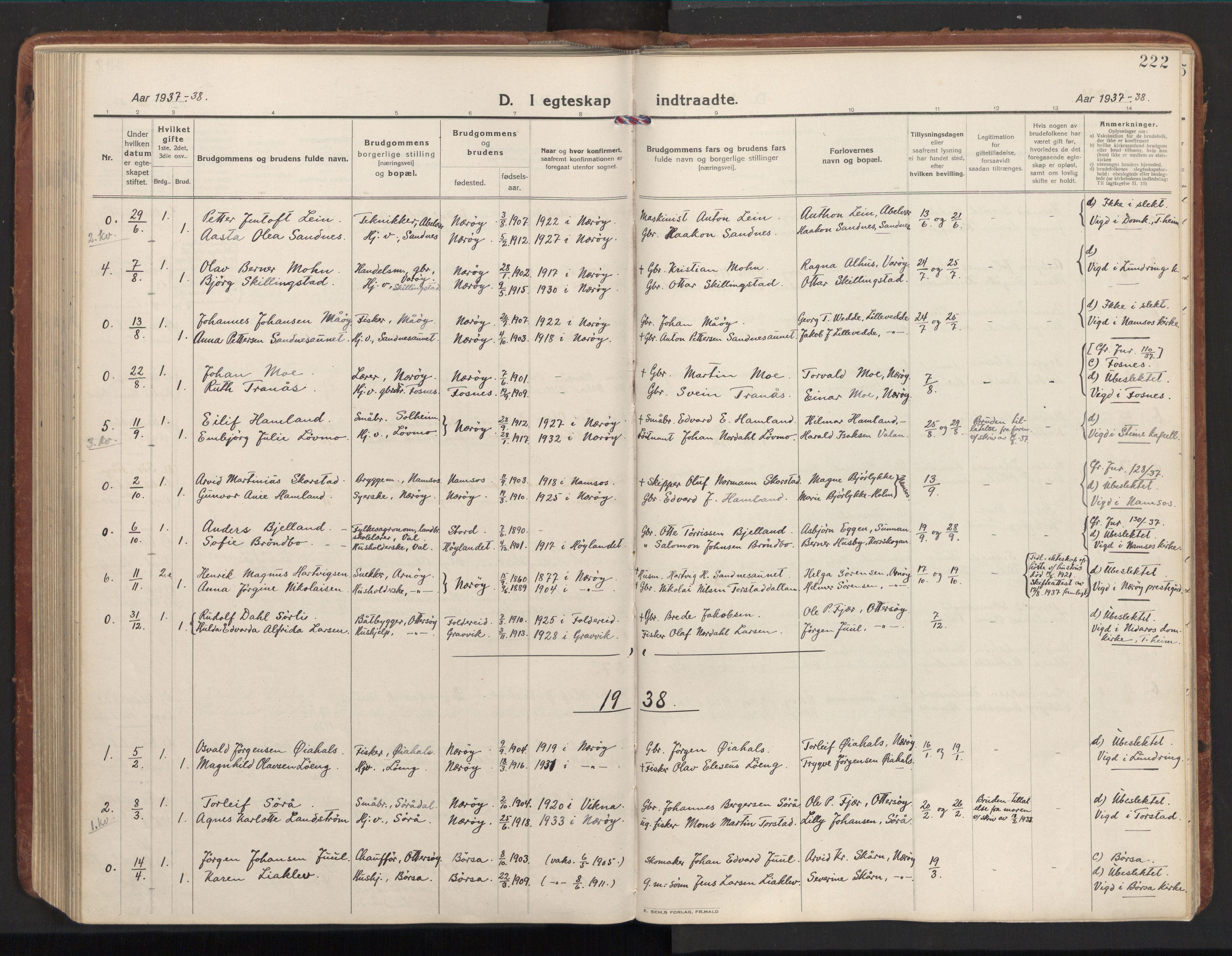 SAT, Ministerialprotokoller, klokkerbøker og fødselsregistre - Nord-Trøndelag, 784/L0678: Ministerialbok nr. 784A13, 1921-1938, s. 222