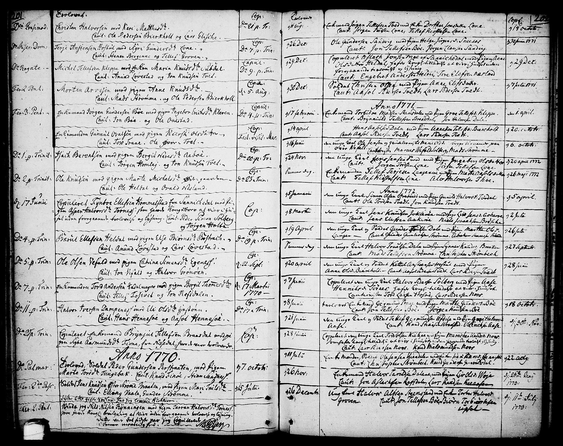 SAKO, Drangedal kirkebøker, F/Fa/L0003: Ministerialbok nr. 3, 1768-1814, s. 201-202