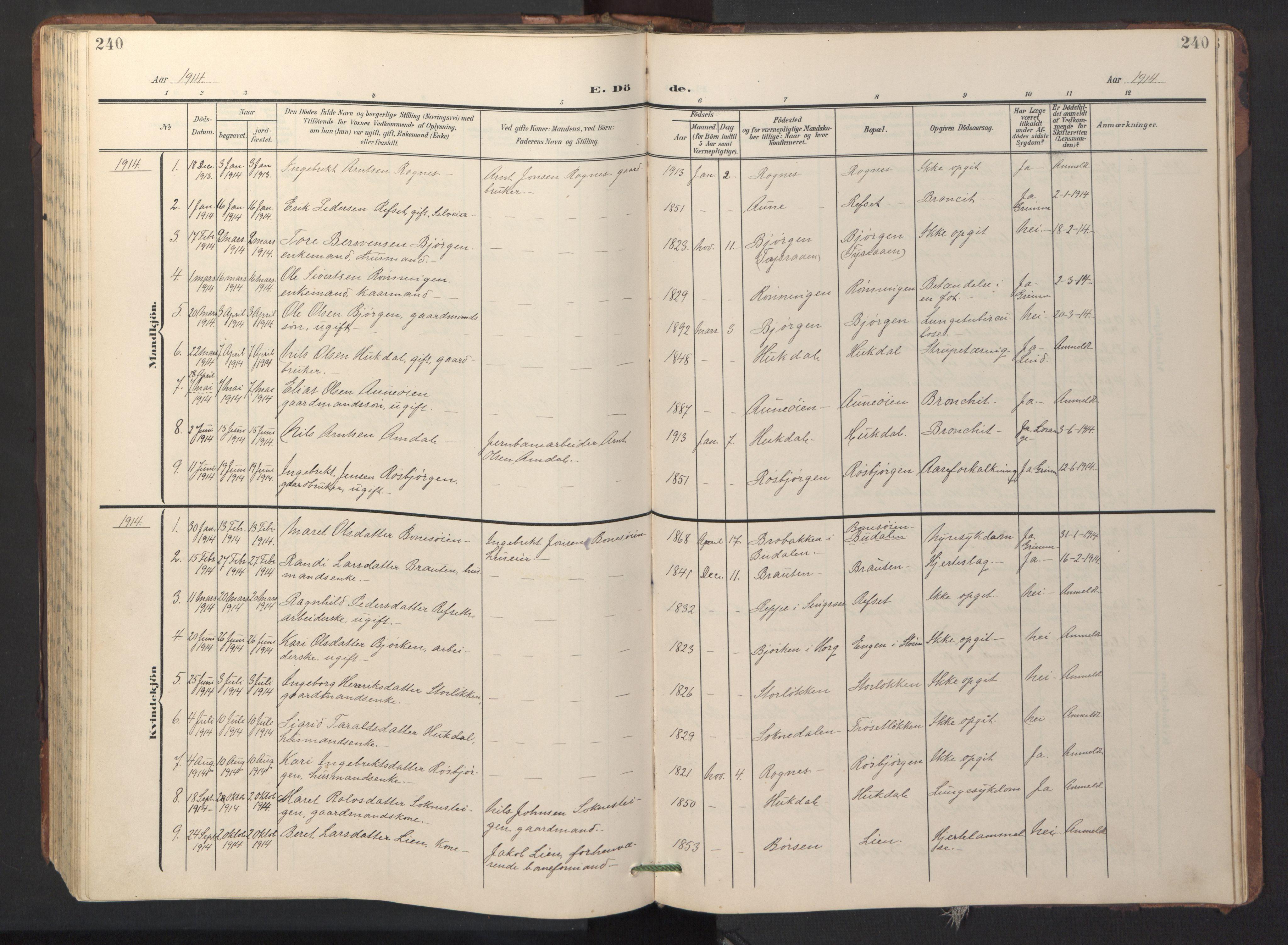 SAT, Ministerialprotokoller, klokkerbøker og fødselsregistre - Sør-Trøndelag, 687/L1019: Klokkerbok nr. 687C03, 1904-1931, s. 240