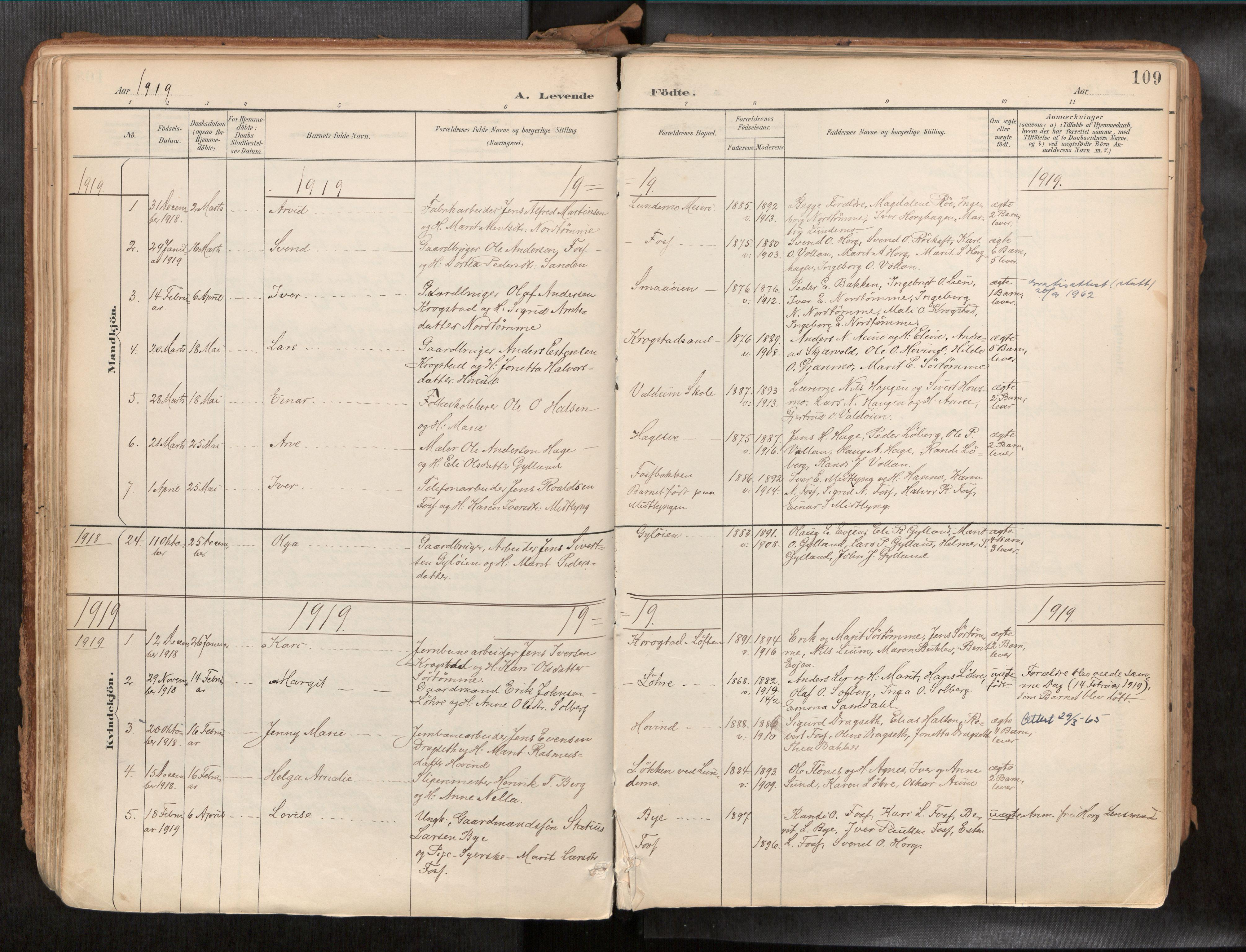 SAT, Ministerialprotokoller, klokkerbøker og fødselsregistre - Sør-Trøndelag, 692/L1105b: Ministerialbok nr. 692A06, 1891-1934, s. 109