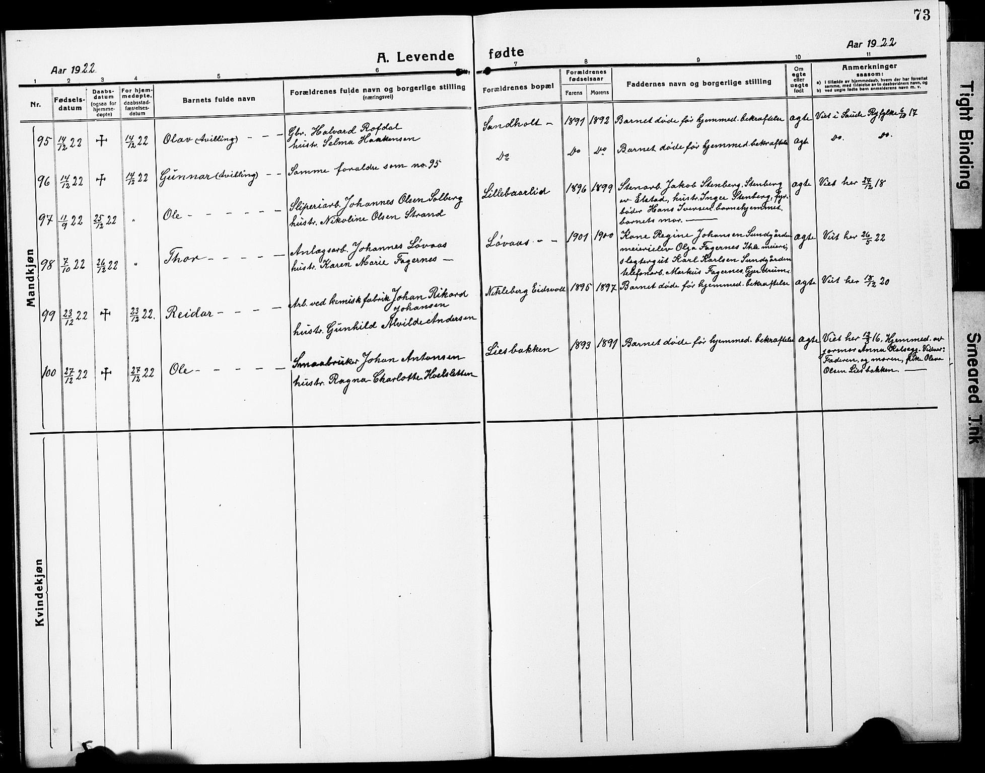 SAO, Eidsvoll prestekontor Kirkebøker, G/Ga/L0010: Klokkerbok nr. I 10, 1919-1929, s. 73