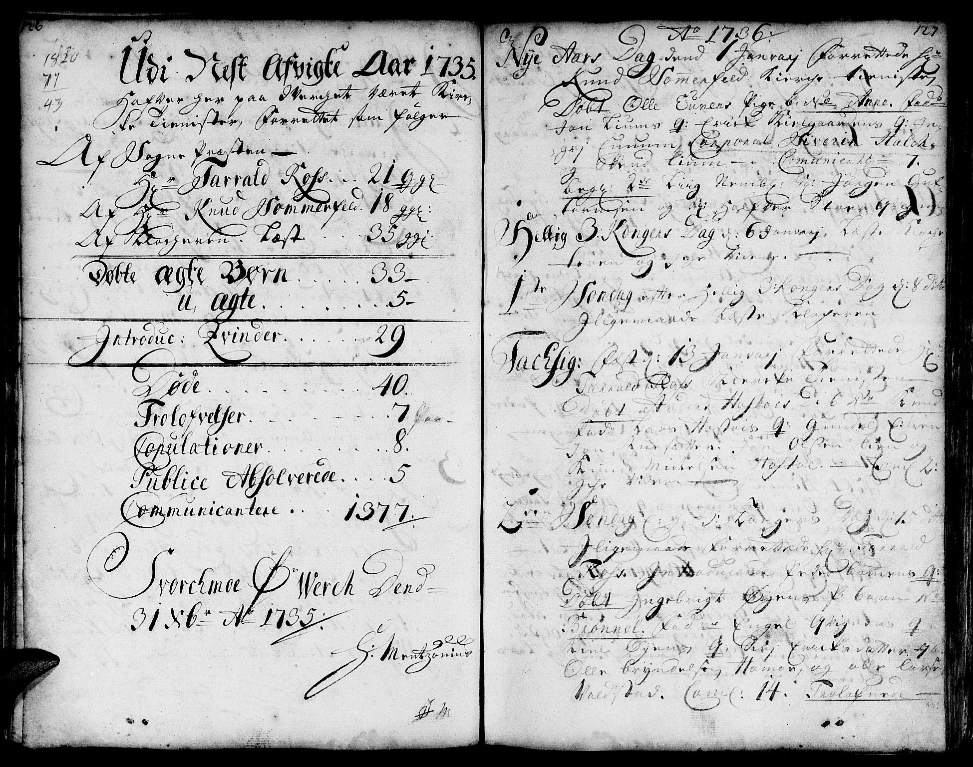 SAT, Ministerialprotokoller, klokkerbøker og fødselsregistre - Sør-Trøndelag, 671/L0839: Ministerialbok nr. 671A01, 1730-1755, s. 126-127