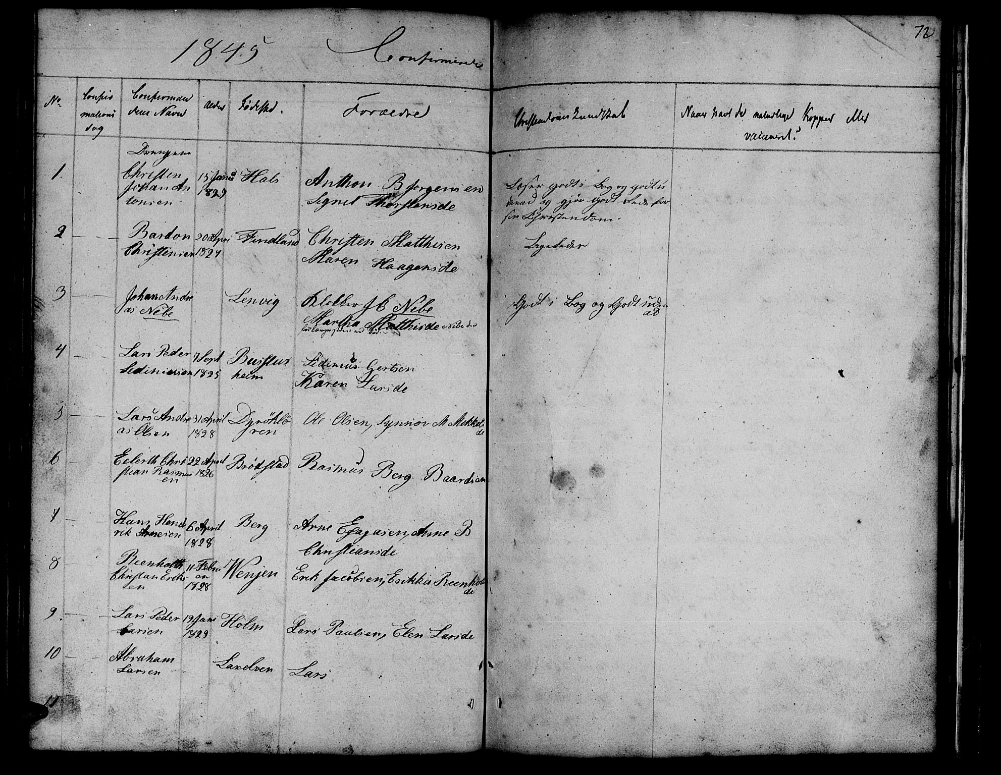 SATØ, Tranøy sokneprestkontor, I/Ia/Iab/L0011klokker: Klokkerbok nr. 11, 1845-1859, s. 72
