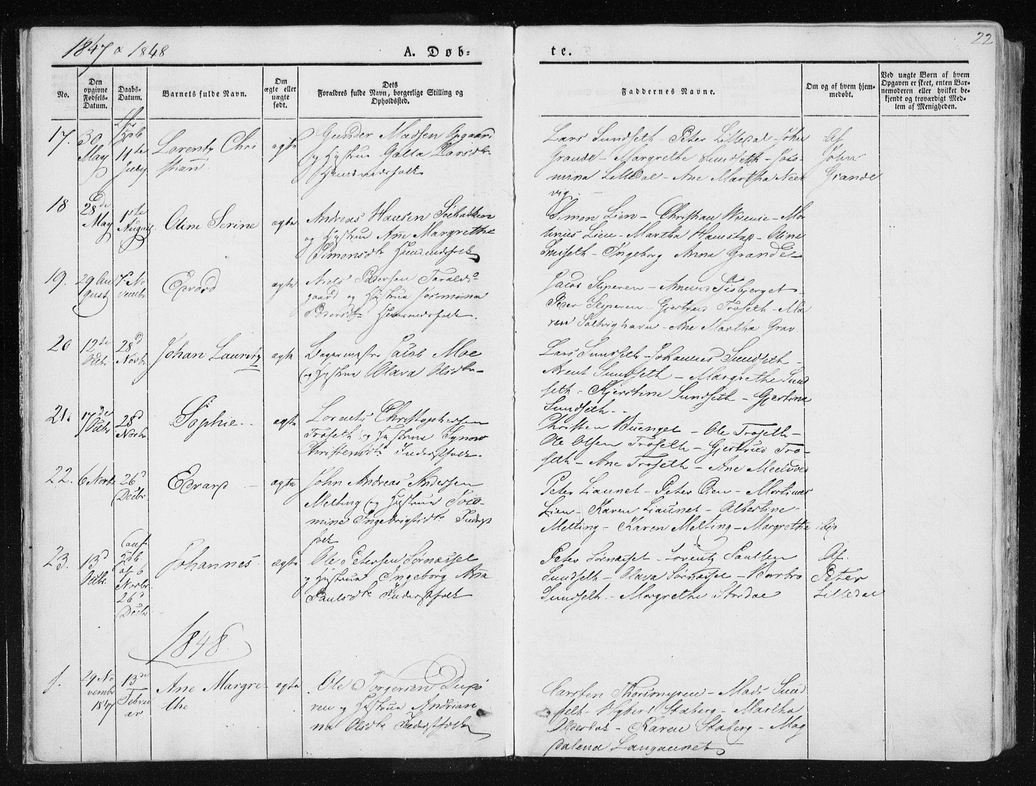 SAT, Ministerialprotokoller, klokkerbøker og fødselsregistre - Nord-Trøndelag, 733/L0323: Ministerialbok nr. 733A02, 1843-1870, s. 22