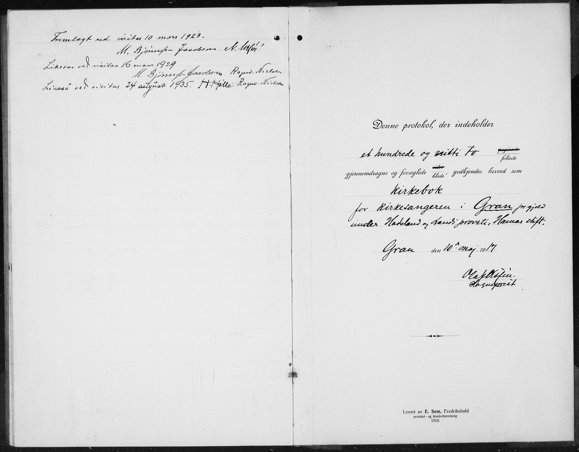 SAH, Gran prestekontor, Klokkerbok nr. 8, 1917-1935
