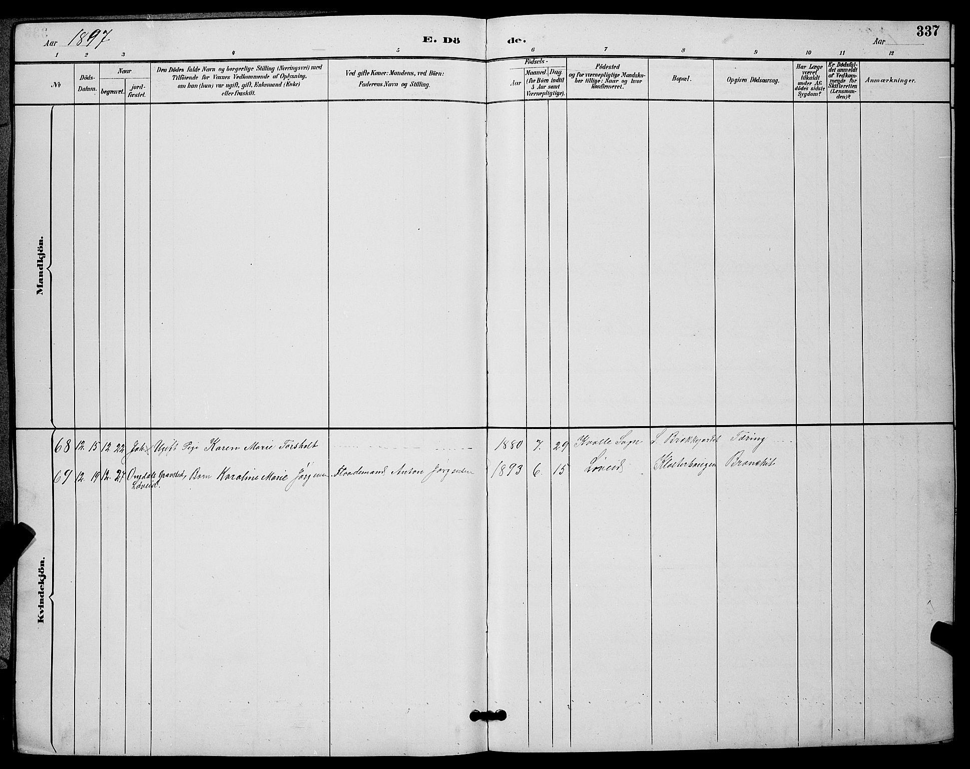 SAKO, Skien kirkebøker, G/Ga/L0007: Klokkerbok nr. 7, 1891-1900, s. 337