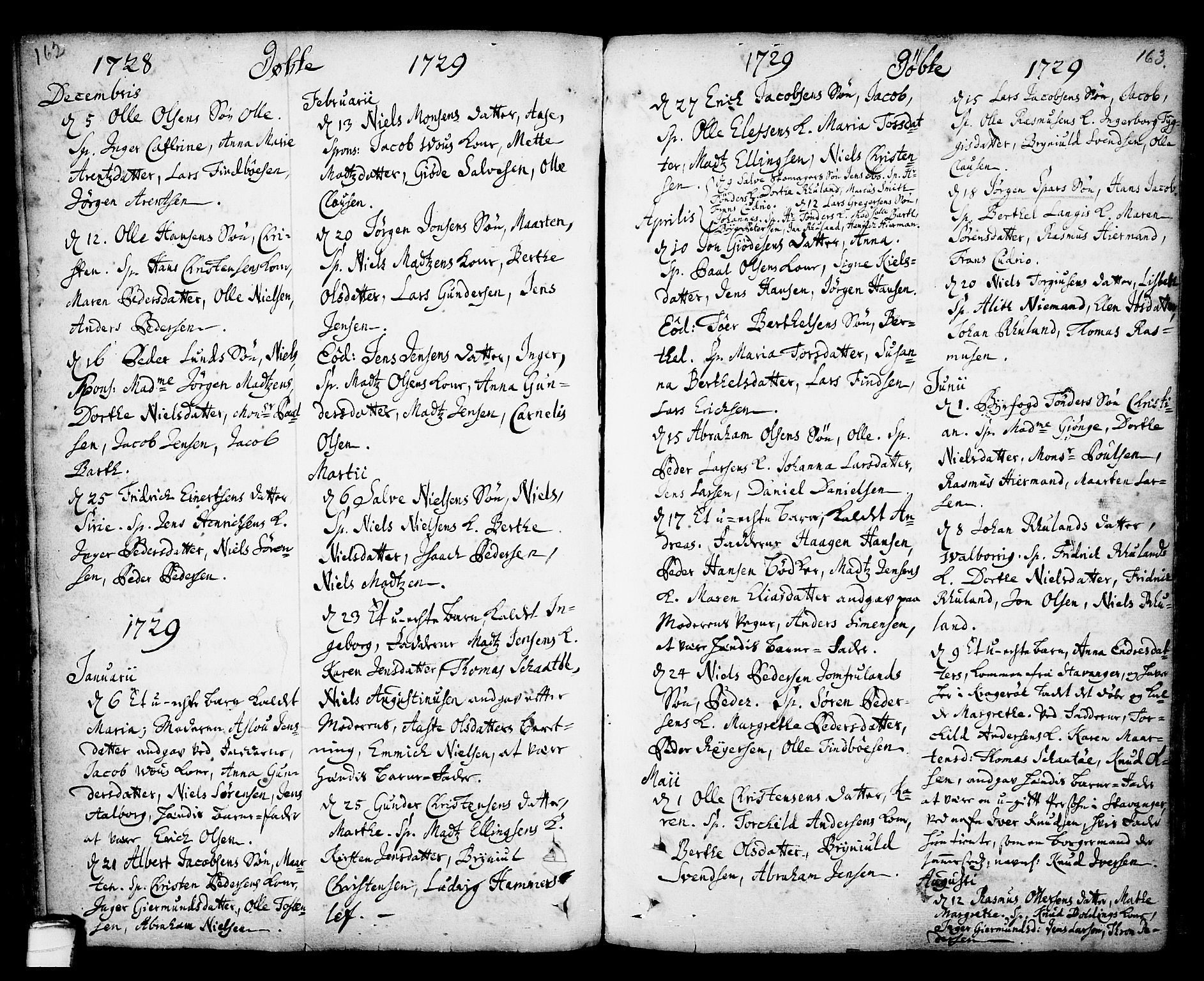 SAKO, Kragerø kirkebøker, F/Fa/L0001: Ministerialbok nr. 1, 1702-1766, s. 162-163