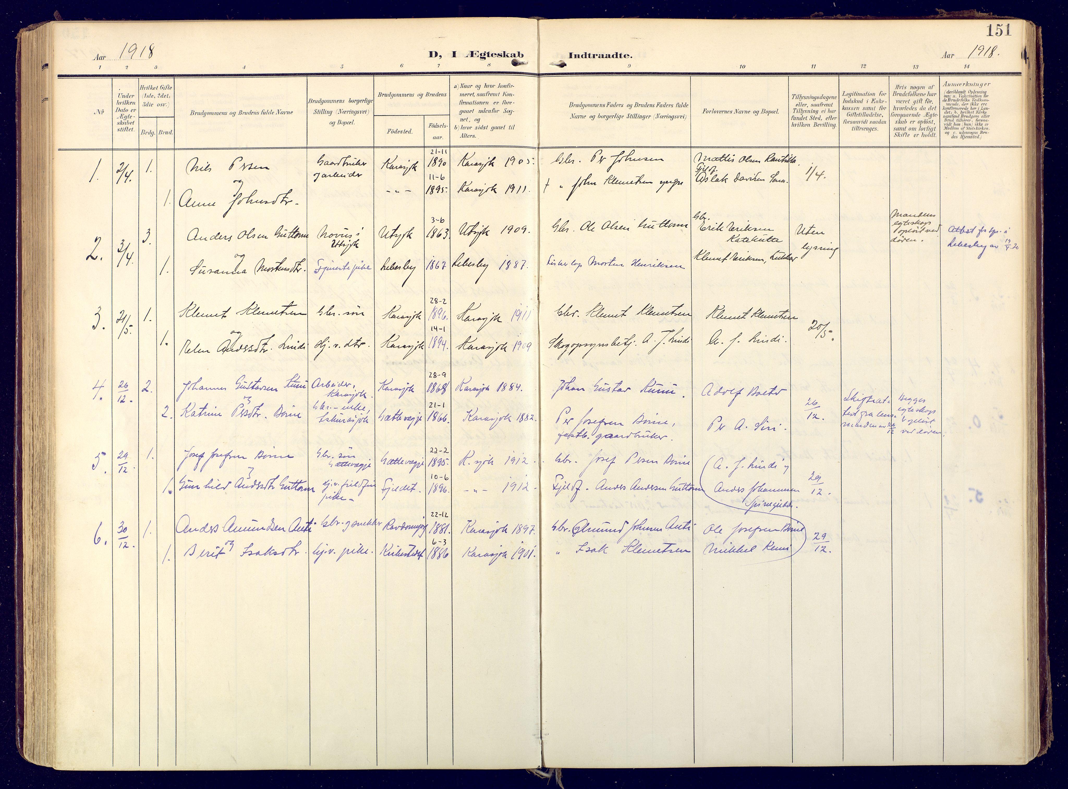 SATØ, Karasjok sokneprestkontor, H/Ha: Ministerialbok nr. 3, 1907-1926, s. 151