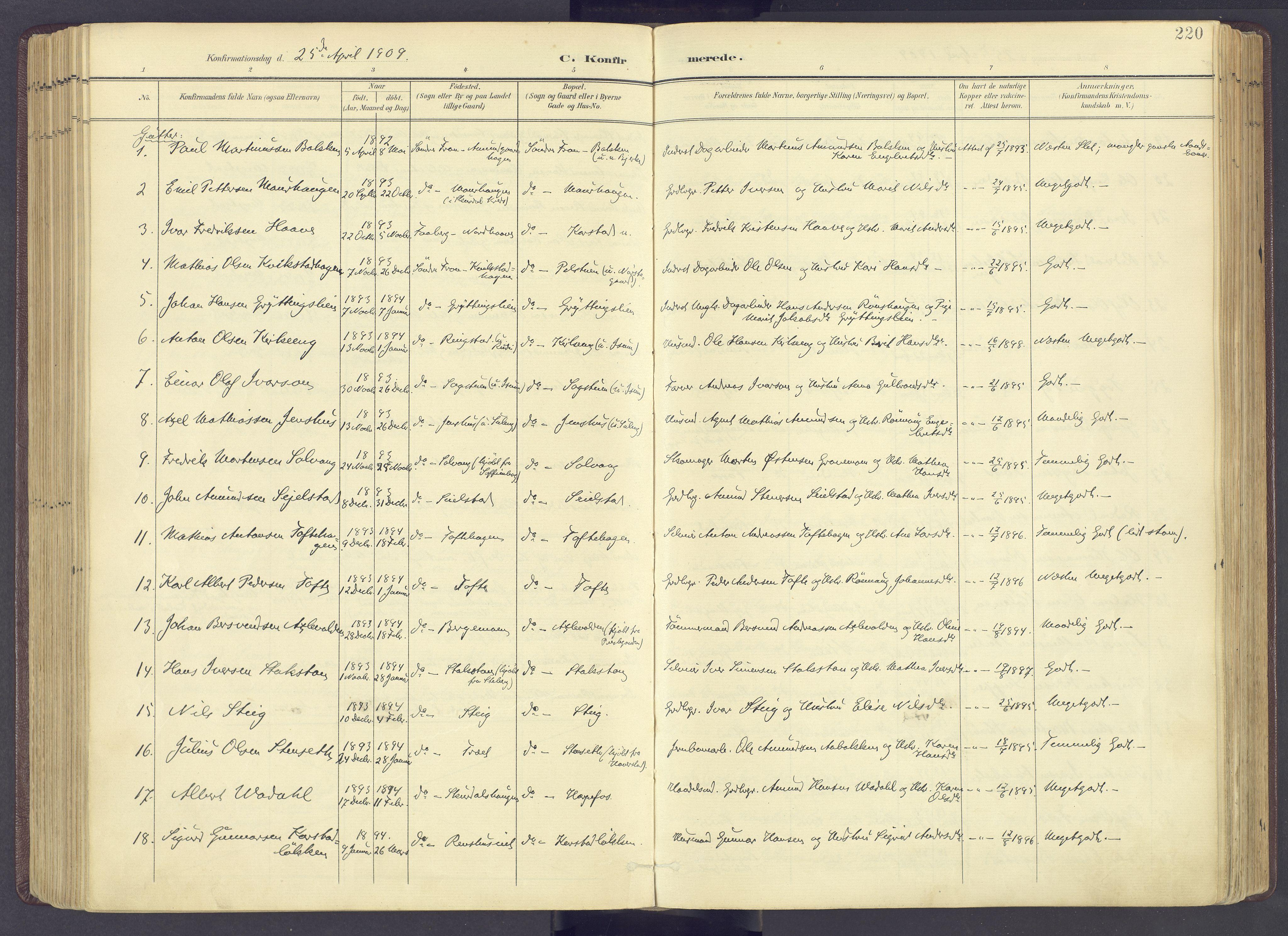 SAH, Sør-Fron prestekontor, H/Ha/Haa/L0004: Ministerialbok nr. 4, 1898-1919, s. 220