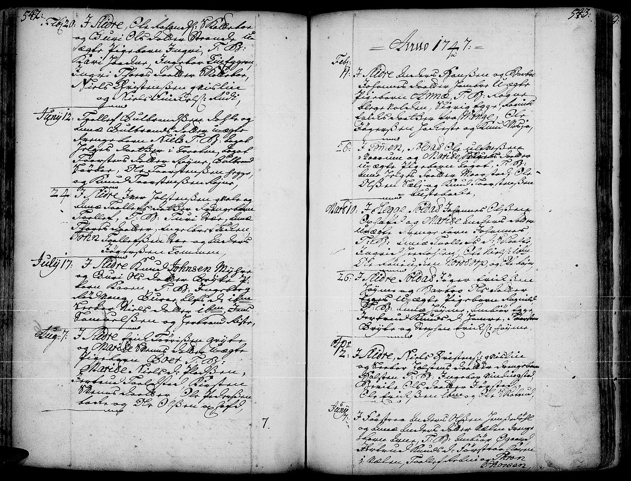 SAH, Slidre prestekontor, Ministerialbok nr. 1, 1724-1814, s. 542-543