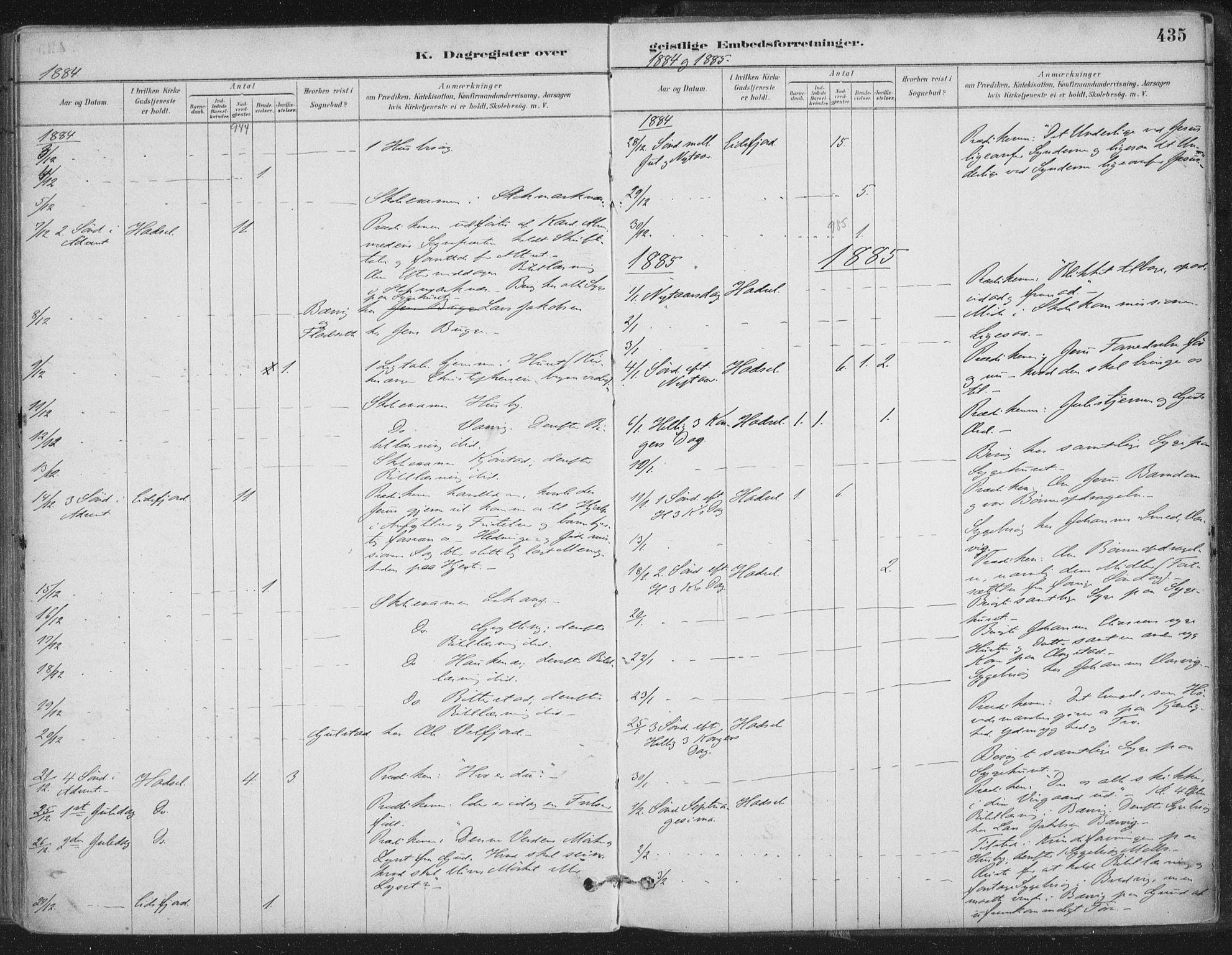 SAT, Ministerialprotokoller, klokkerbøker og fødselsregistre - Nordland, 888/L1244: Ministerialbok nr. 888A10, 1880-1890, s. 435