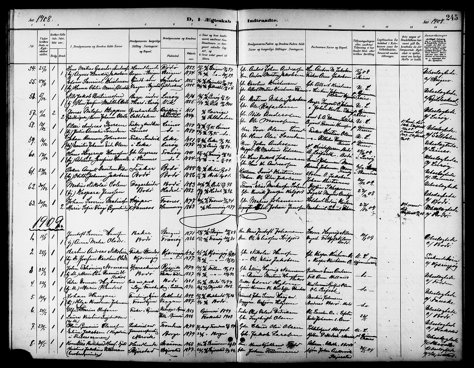 SAT, Ministerialprotokoller, klokkerbøker og fødselsregistre - Nordland, 801/L0033: Klokkerbok nr. 801C08, 1898-1910, s. 245