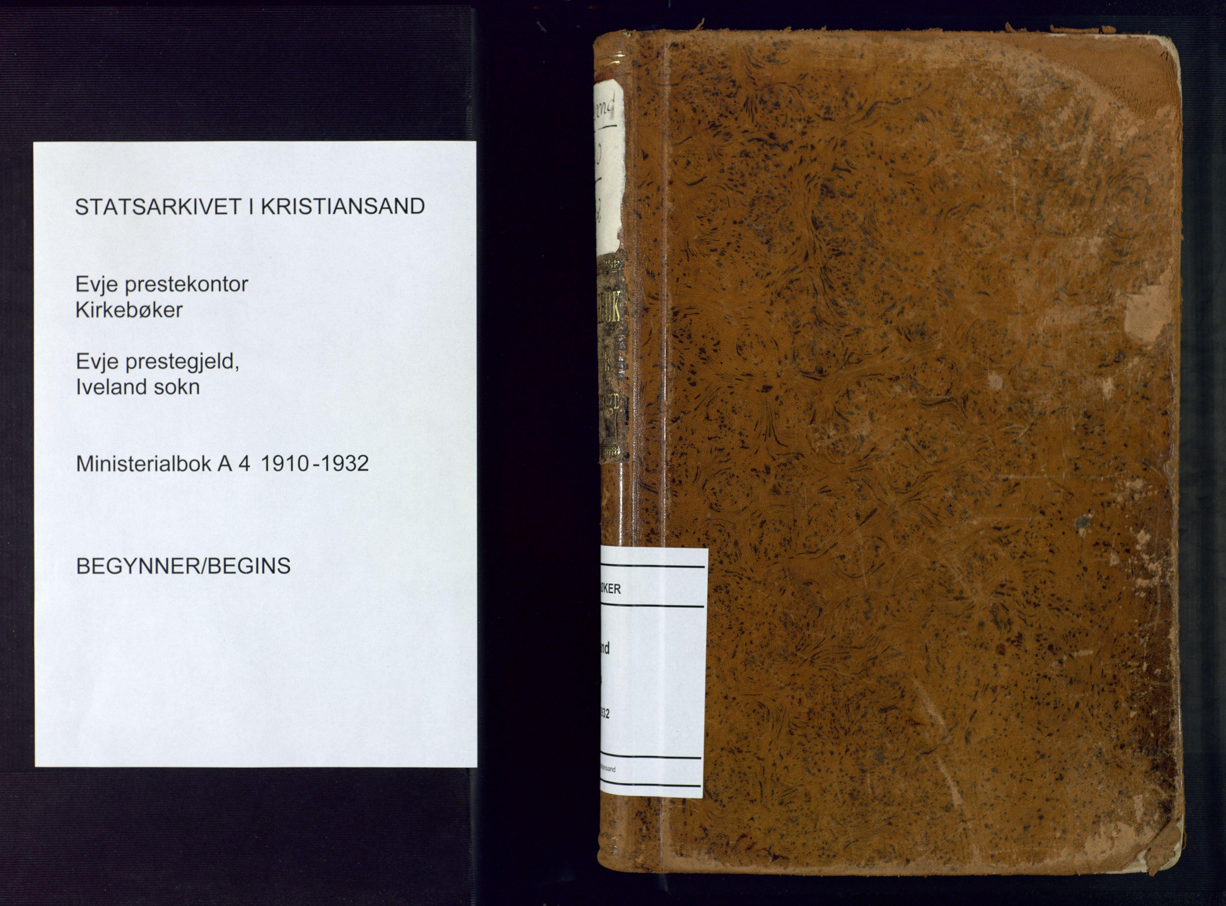 SAK, Evje sokneprestkontor, F/Fa/Fac/L0004: Ministerialbok nr. A 4, 1910-1932