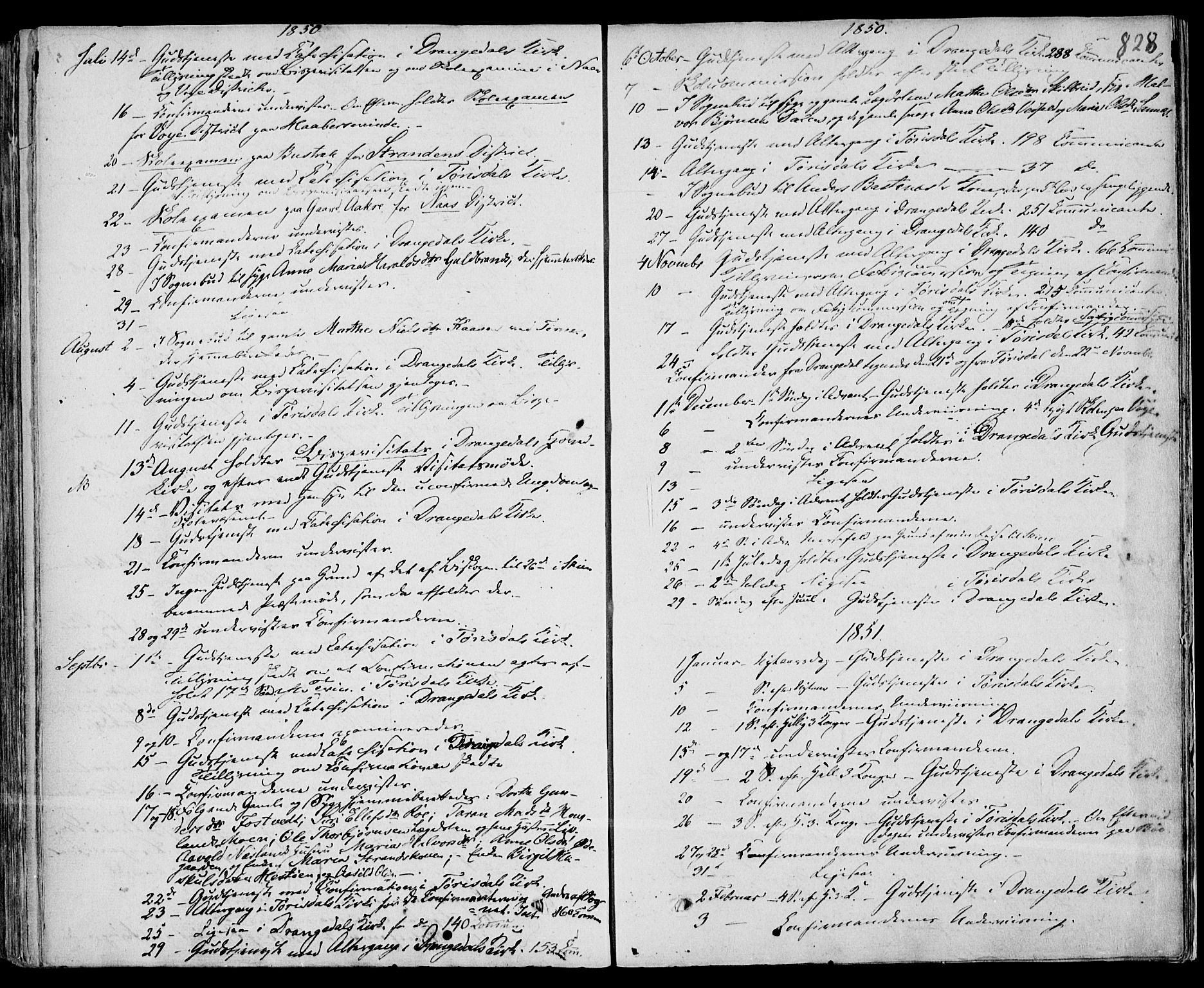 SAKO, Drangedal kirkebøker, F/Fa/L0007b: Ministerialbok nr. 7b, 1837-1856, s. 828