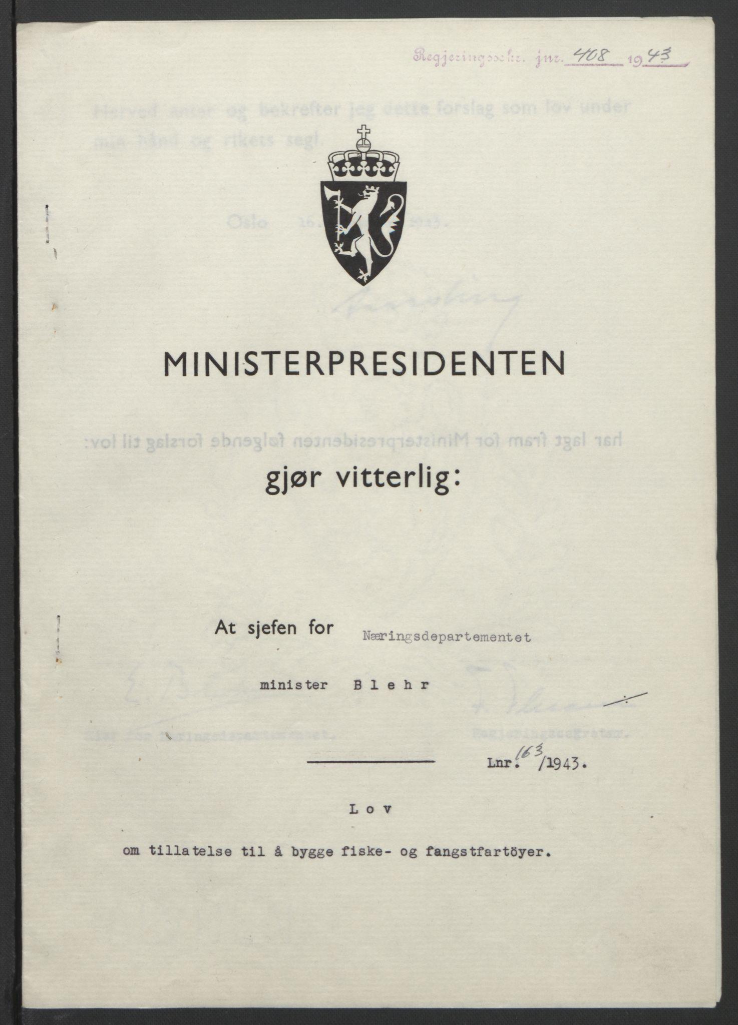 RA, NS-administrasjonen 1940-1945 (Statsrådsekretariatet, de kommisariske statsråder mm), D/Db/L0099: Lover, 1943, s. 770