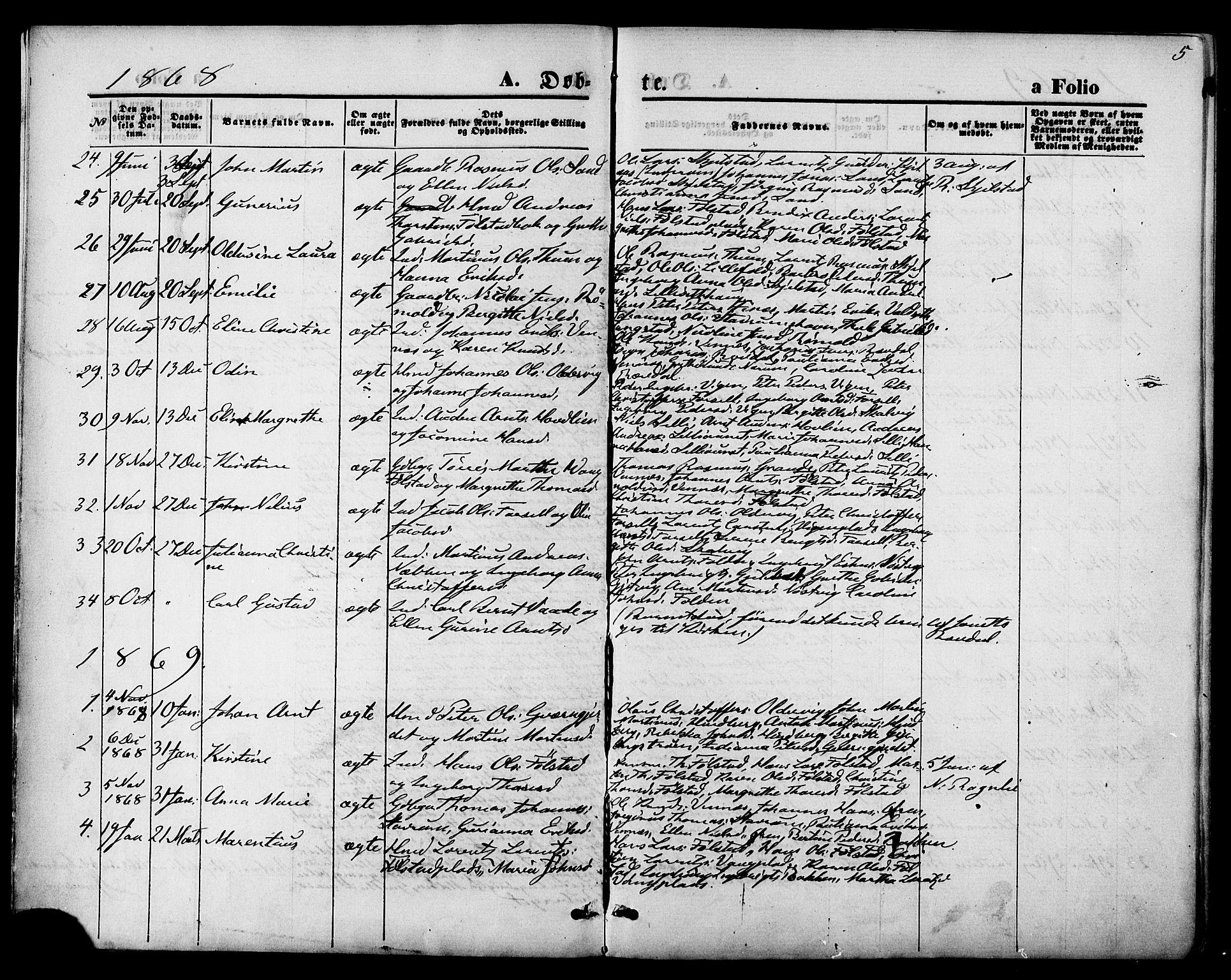 SAT, Ministerialprotokoller, klokkerbøker og fødselsregistre - Nord-Trøndelag, 744/L0419: Ministerialbok nr. 744A03, 1867-1881, s. 5