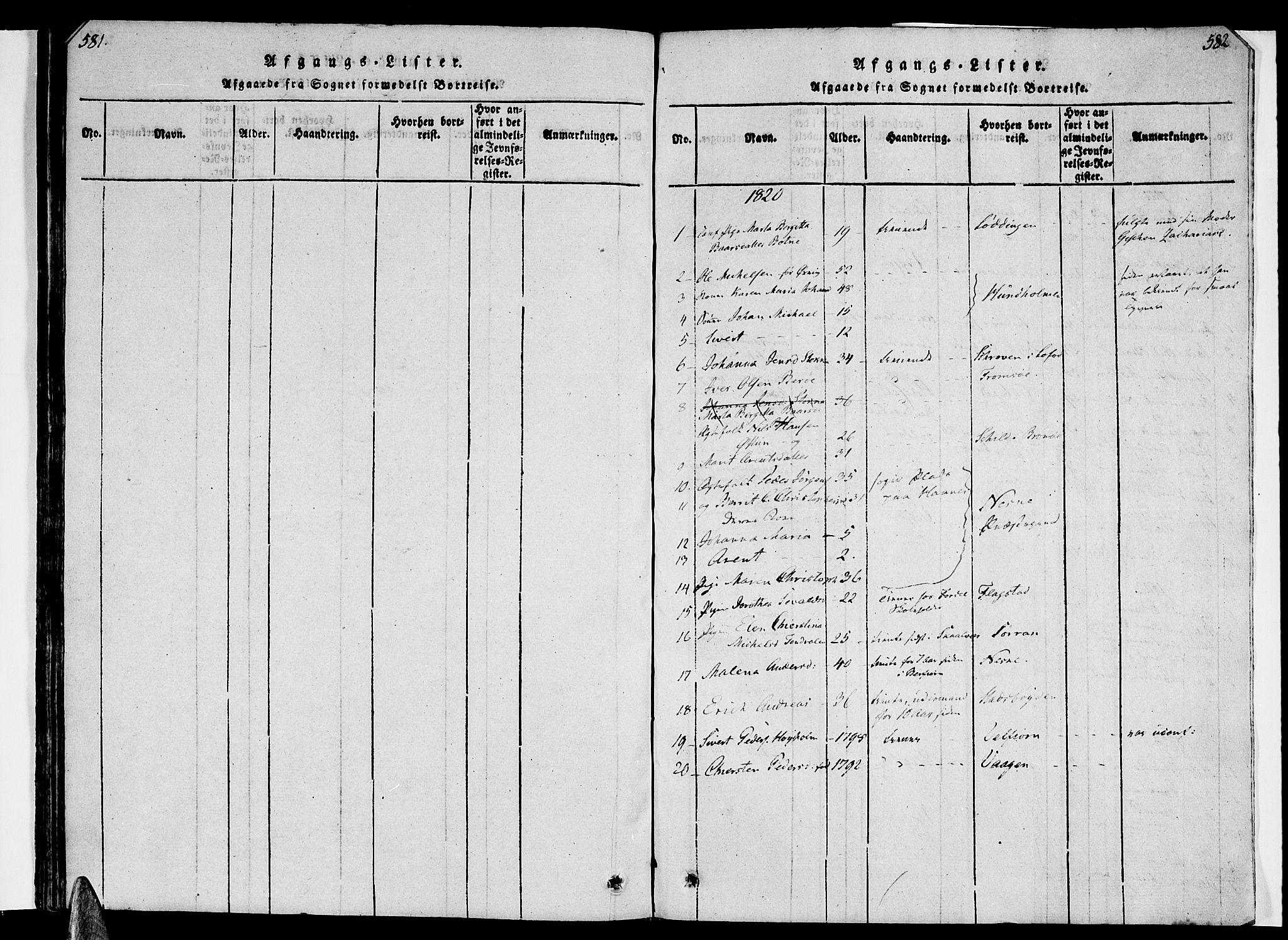 SAT, Ministerialprotokoller, klokkerbøker og fødselsregistre - Nordland, 830/L0445: Ministerialbok nr. 830A09, 1820-1830, s. 581-582