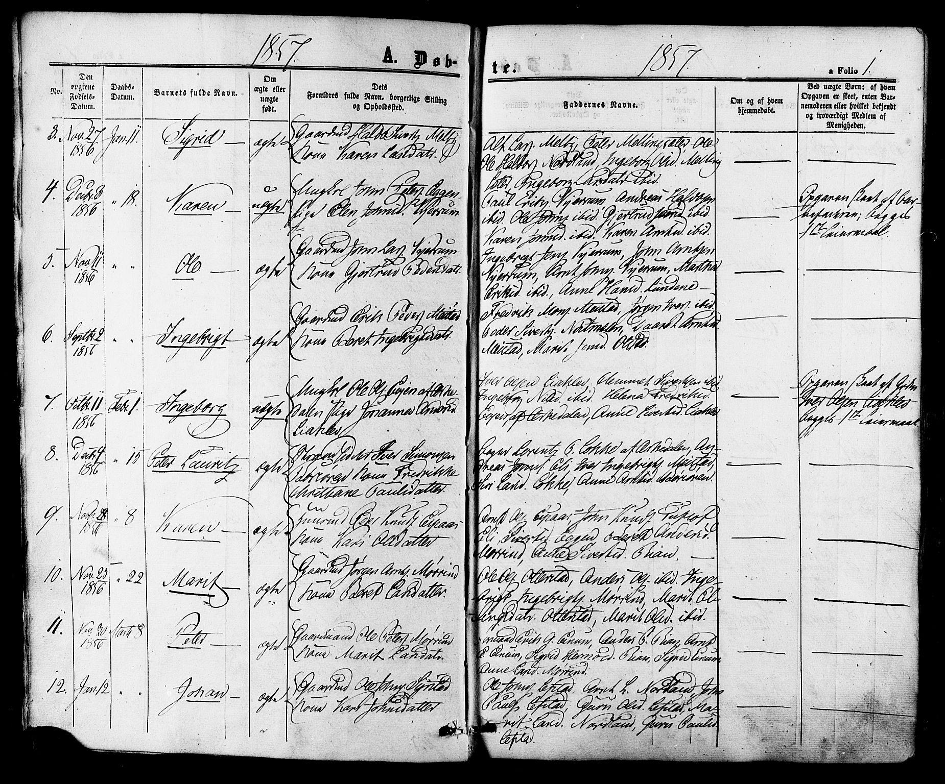 SAT, Ministerialprotokoller, klokkerbøker og fødselsregistre - Sør-Trøndelag, 665/L0772: Ministerialbok nr. 665A07, 1856-1878, s. 1