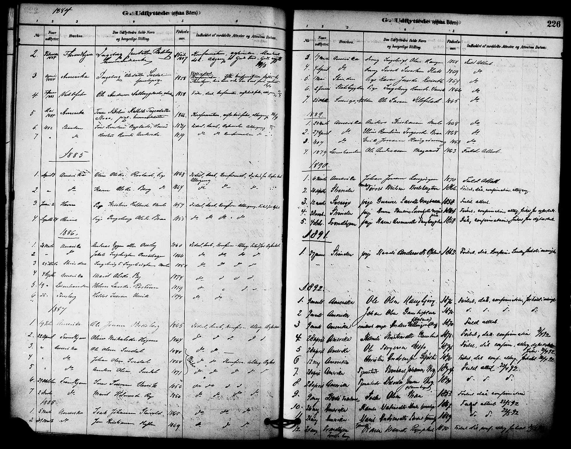 SAT, Ministerialprotokoller, klokkerbøker og fødselsregistre - Sør-Trøndelag, 612/L0378: Ministerialbok nr. 612A10, 1878-1897, s. 226