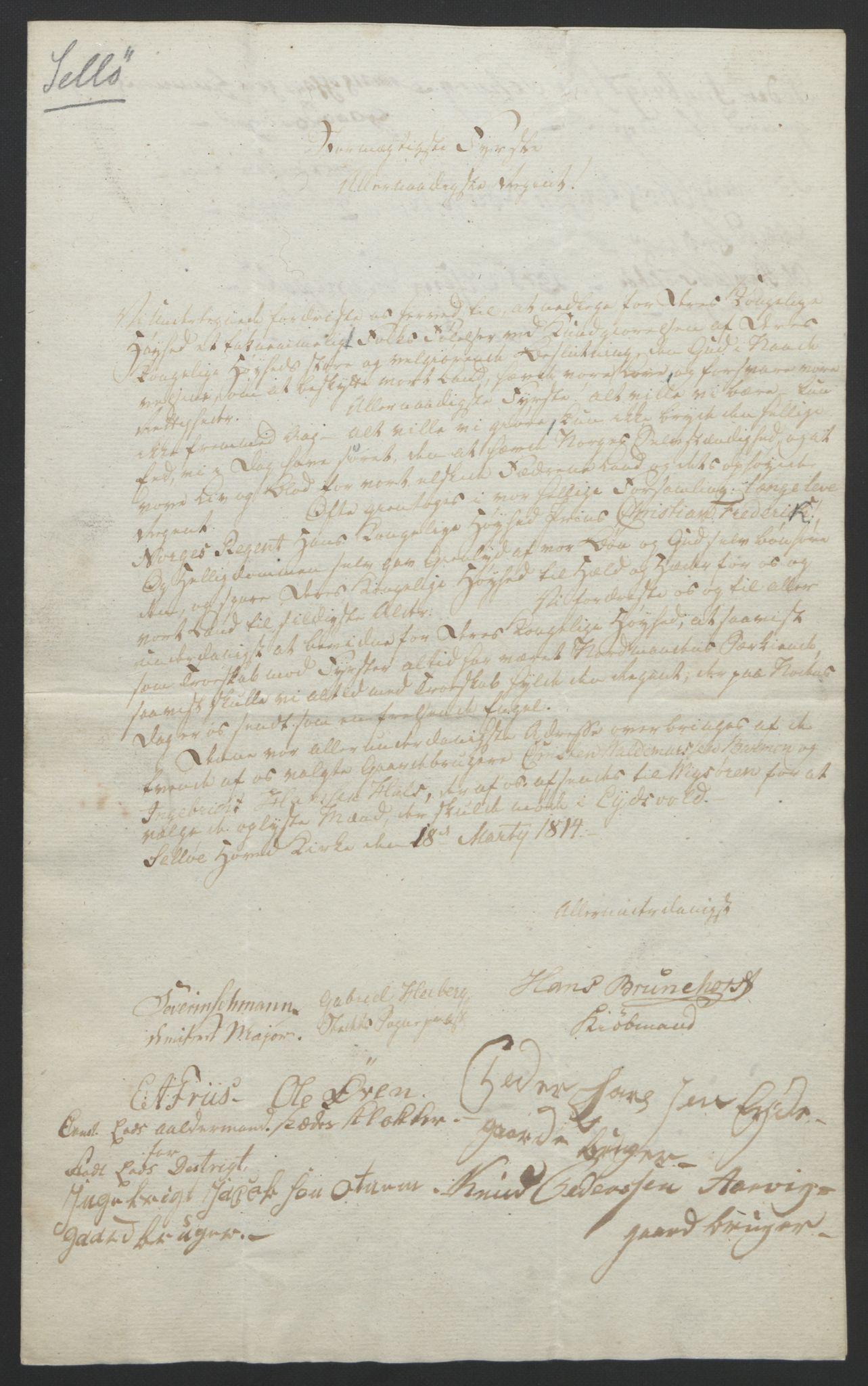 RA, Statsrådssekretariatet, D/Db/L0008: Fullmakter for Eidsvollsrepresentantene i 1814. , 1814, s. 342