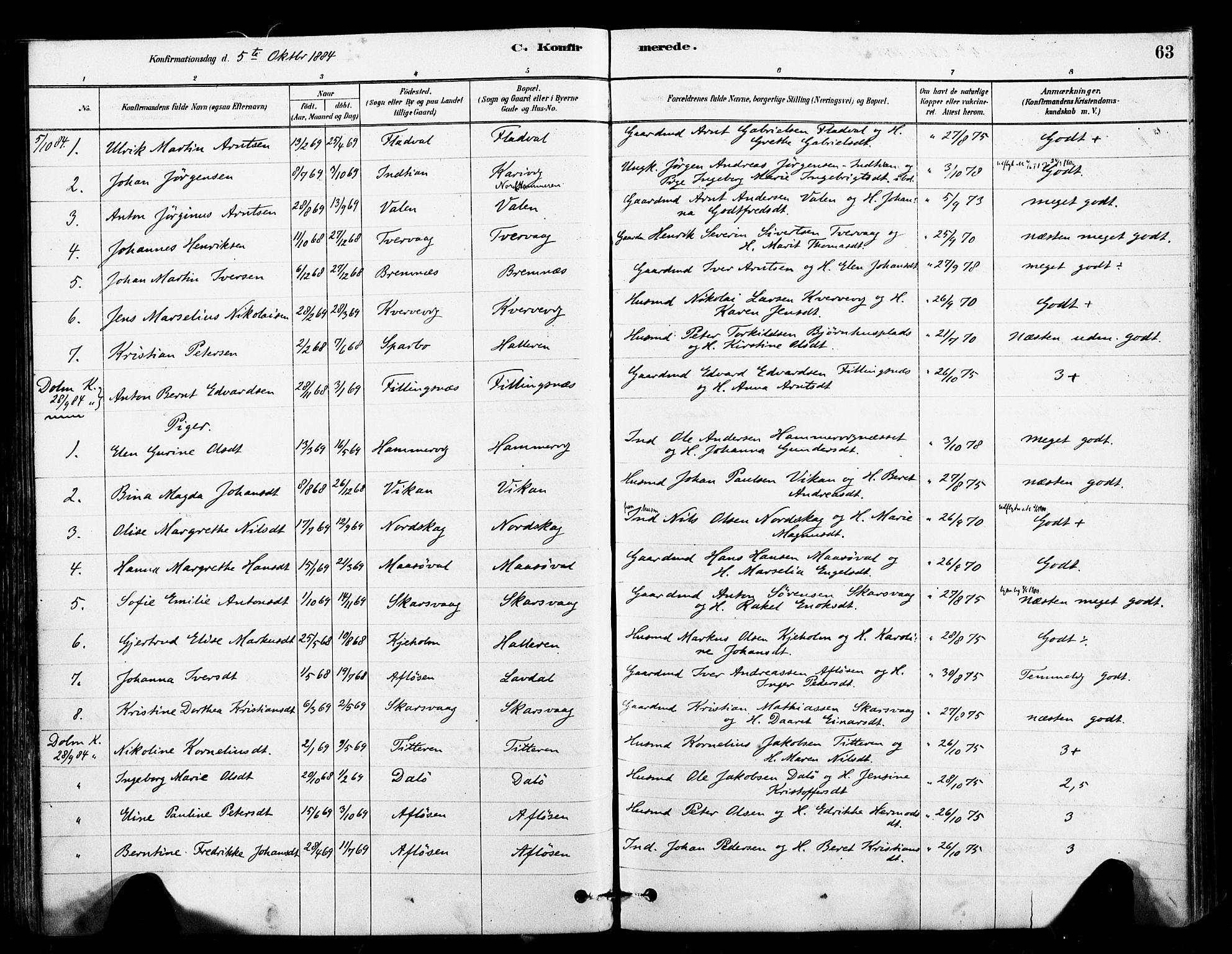 SAT, Ministerialprotokoller, klokkerbøker og fødselsregistre - Sør-Trøndelag, 641/L0595: Ministerialbok nr. 641A01, 1882-1897, s. 63