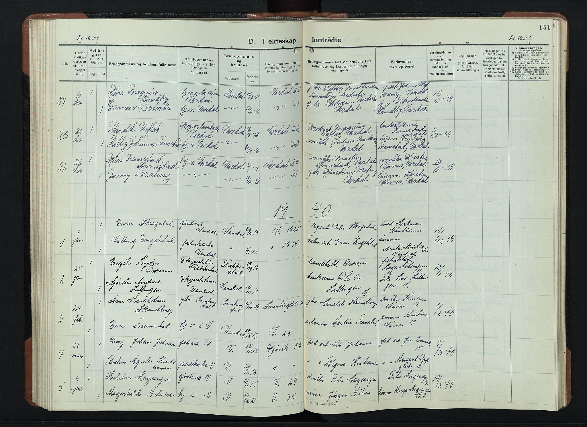 SAH, Vardal prestekontor, H/Ha/Hab/L0018: Klokkerbok nr. 18, 1931-1951, s. 151