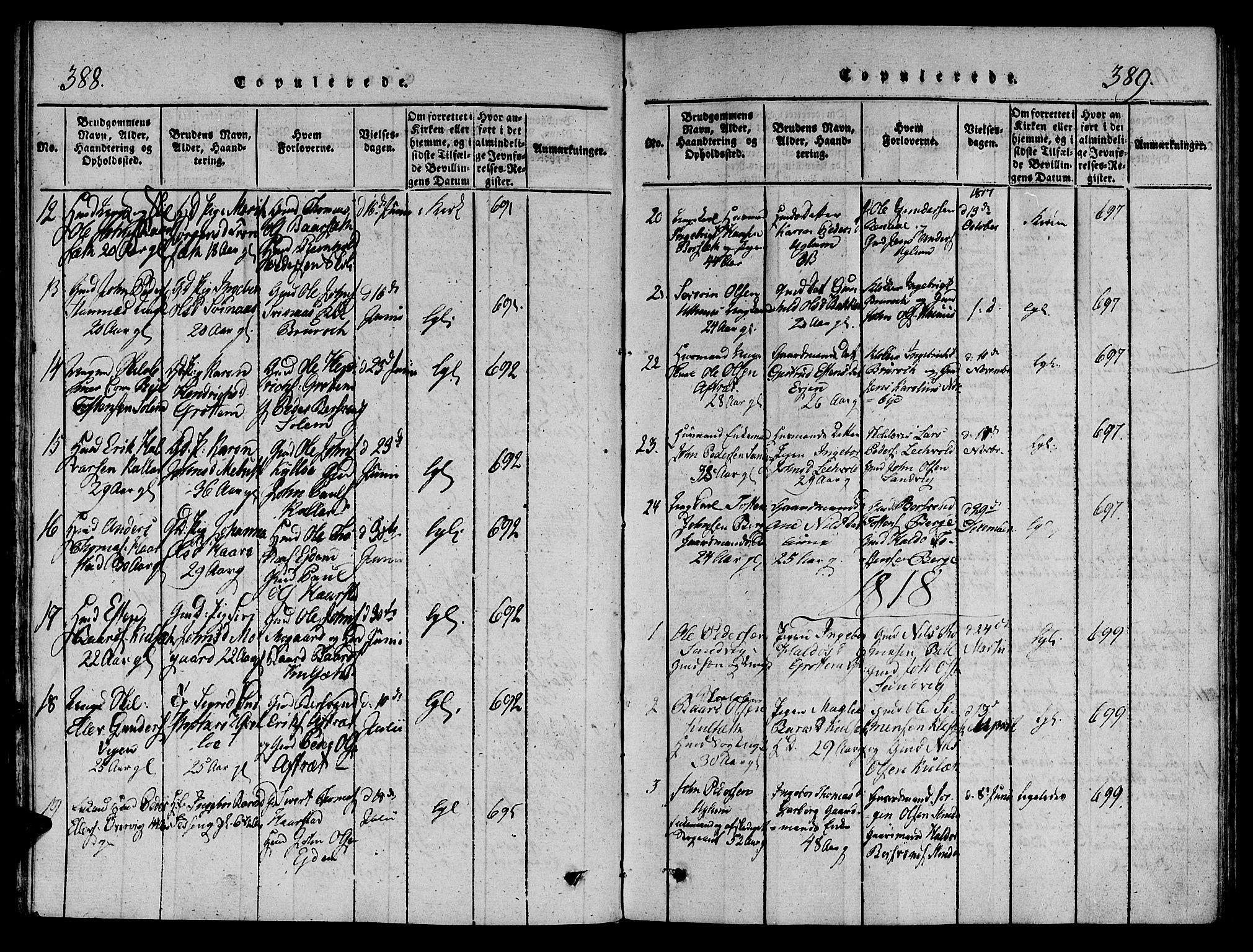 SAT, Ministerialprotokoller, klokkerbøker og fødselsregistre - Sør-Trøndelag, 695/L1141: Ministerialbok nr. 695A04 /1, 1816-1824, s. 388-389